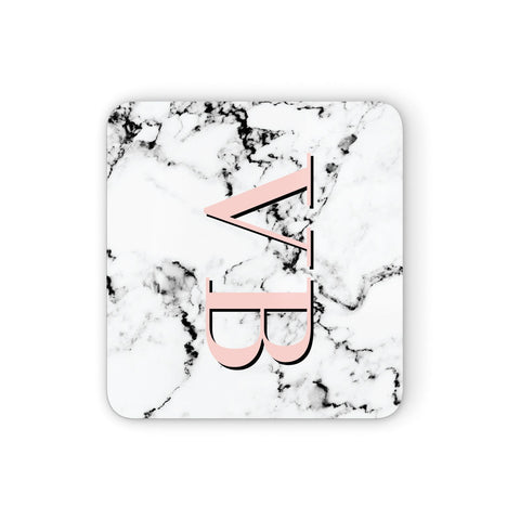 Personalised Coral Malble Initials Coasters set of 4