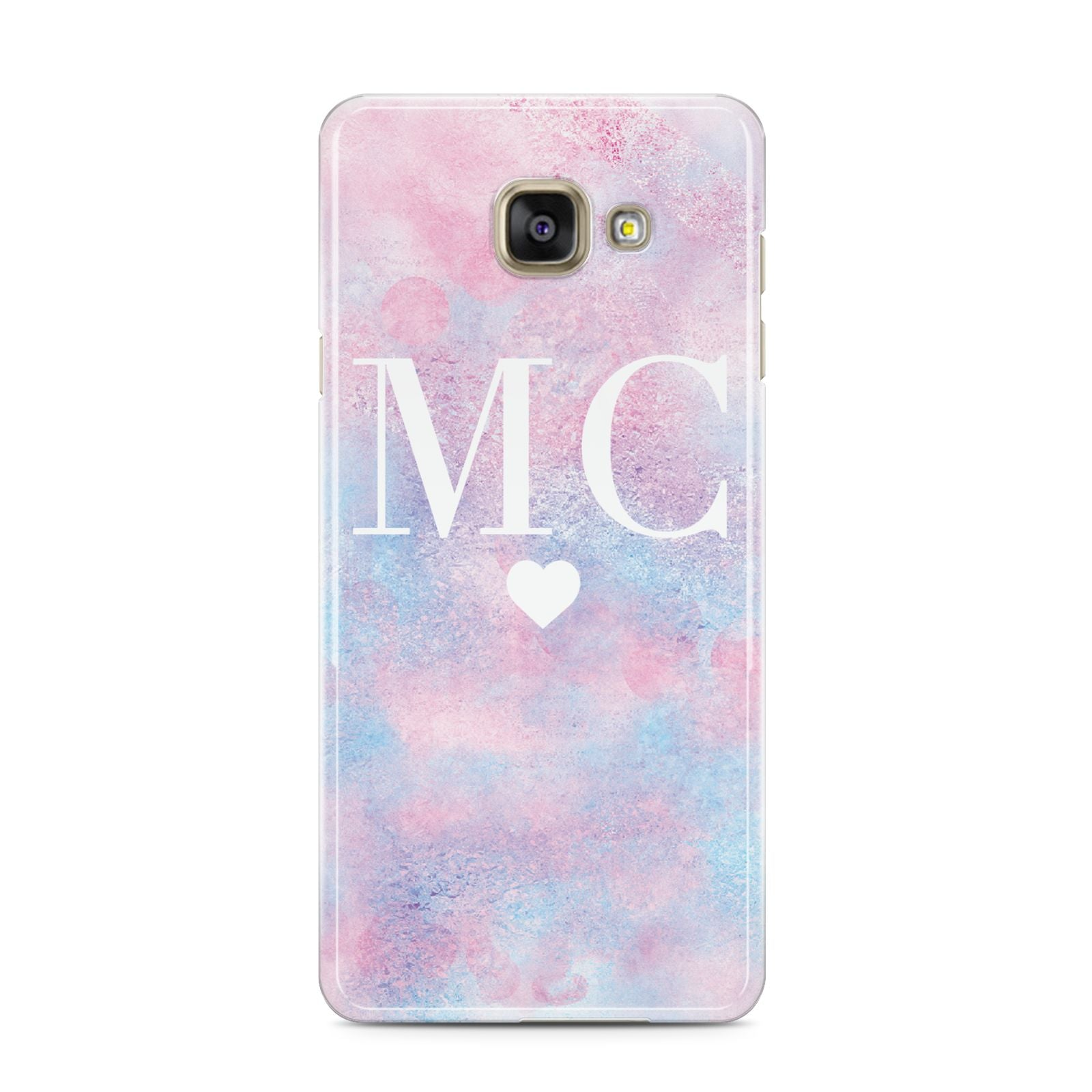 Personalised Cotton Candy Marble Initials Samsung Galaxy A3 2016 Case on gold phone
