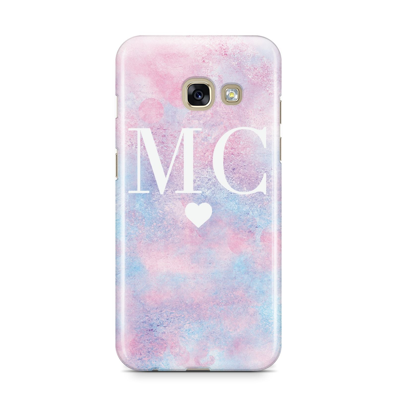 Personalised Cotton Candy Marble Initials Samsung Galaxy A3 2017 Case on gold phone