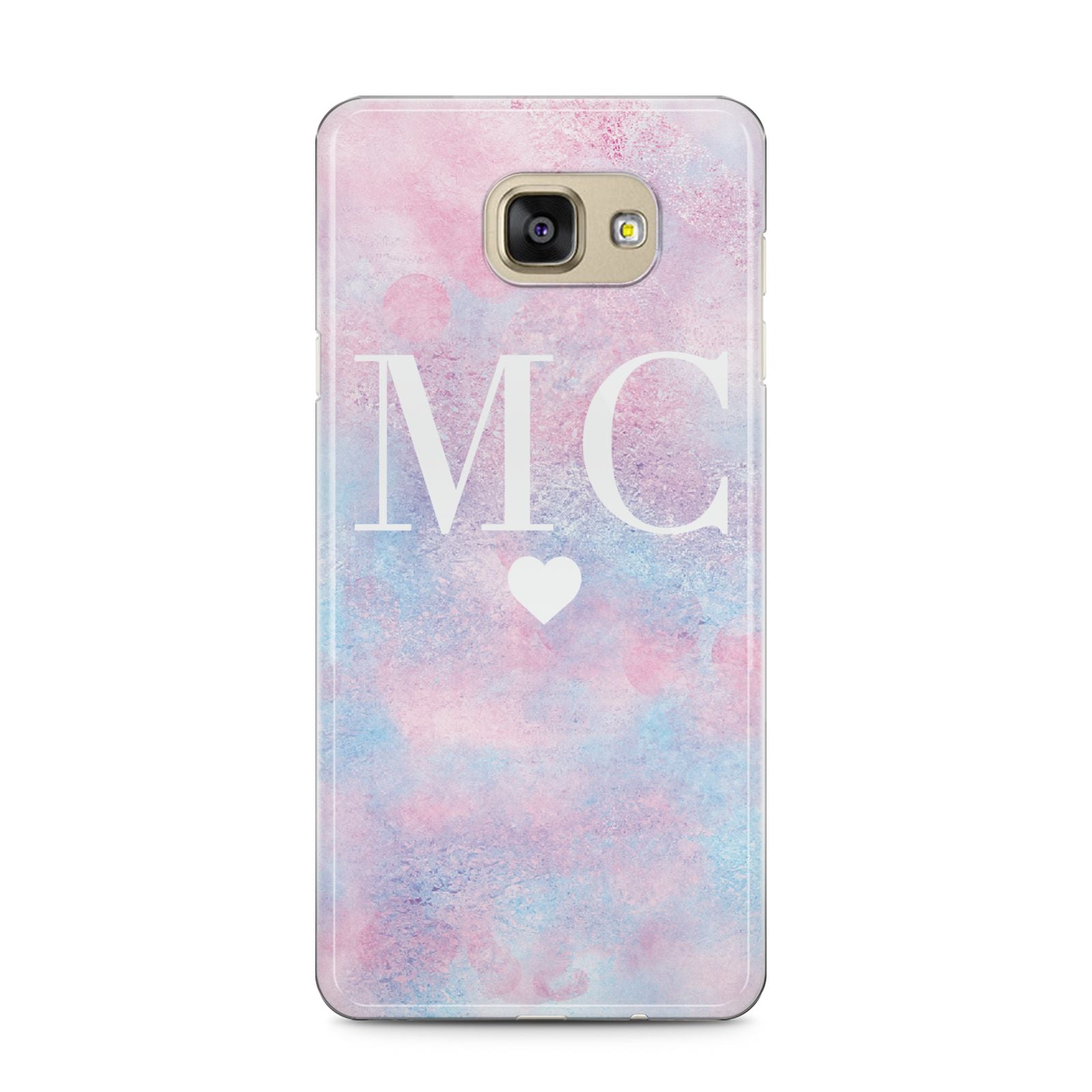 Personalised Cotton Candy Marble Initials Samsung Galaxy A5 2016 Case on gold phone
