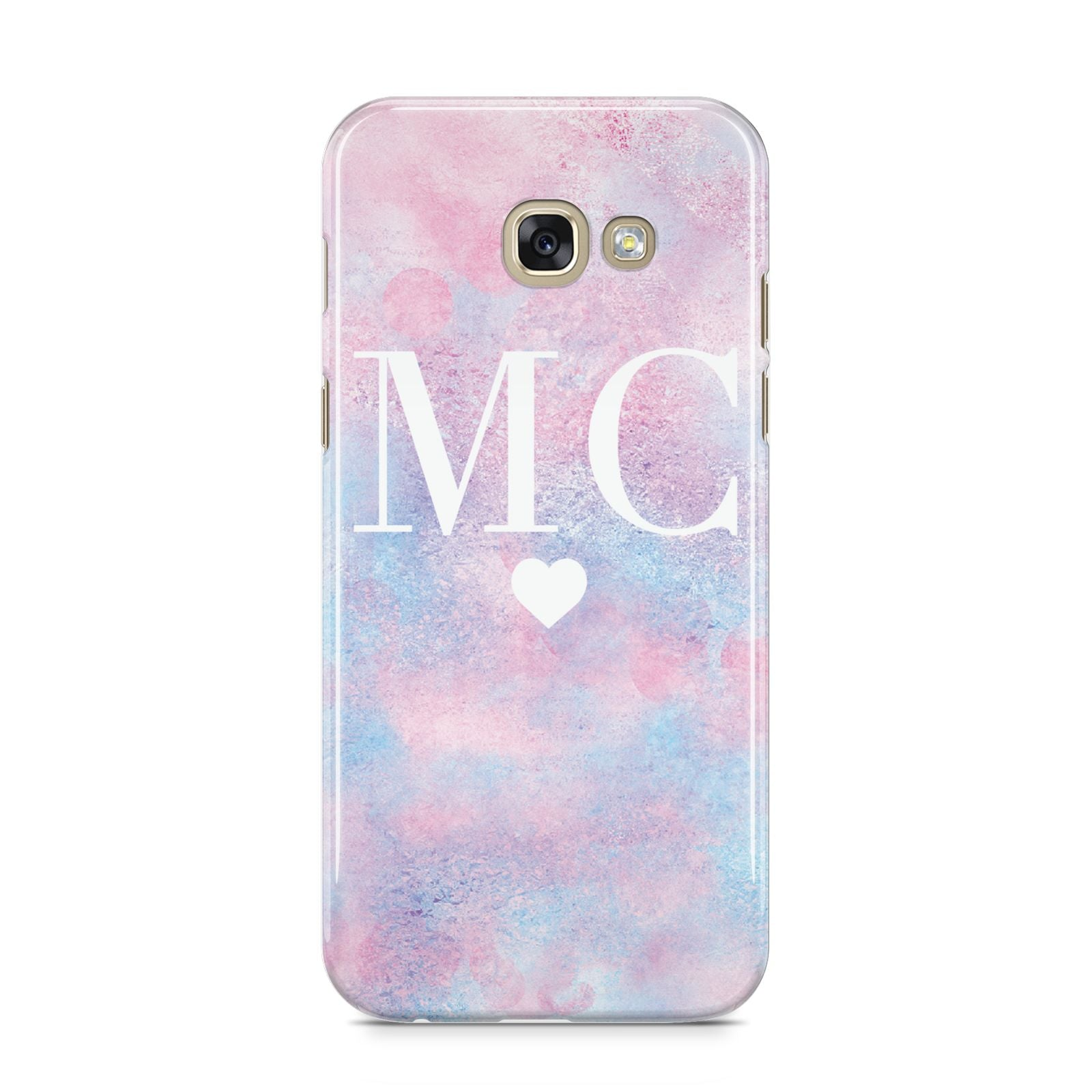 Personalised Cotton Candy Marble Initials Samsung Galaxy A5 2017 Case on gold phone
