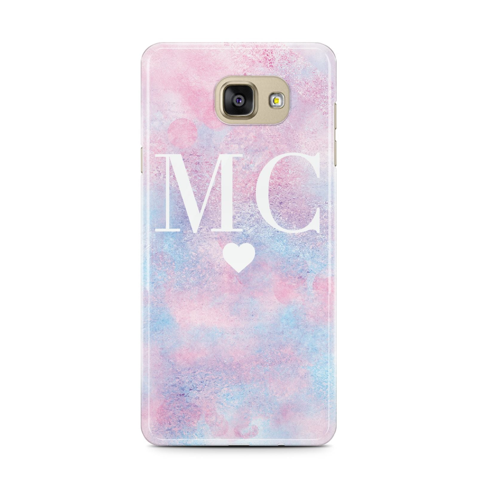 Personalised Cotton Candy Marble Initials Samsung Galaxy A7 2016 Case on gold phone