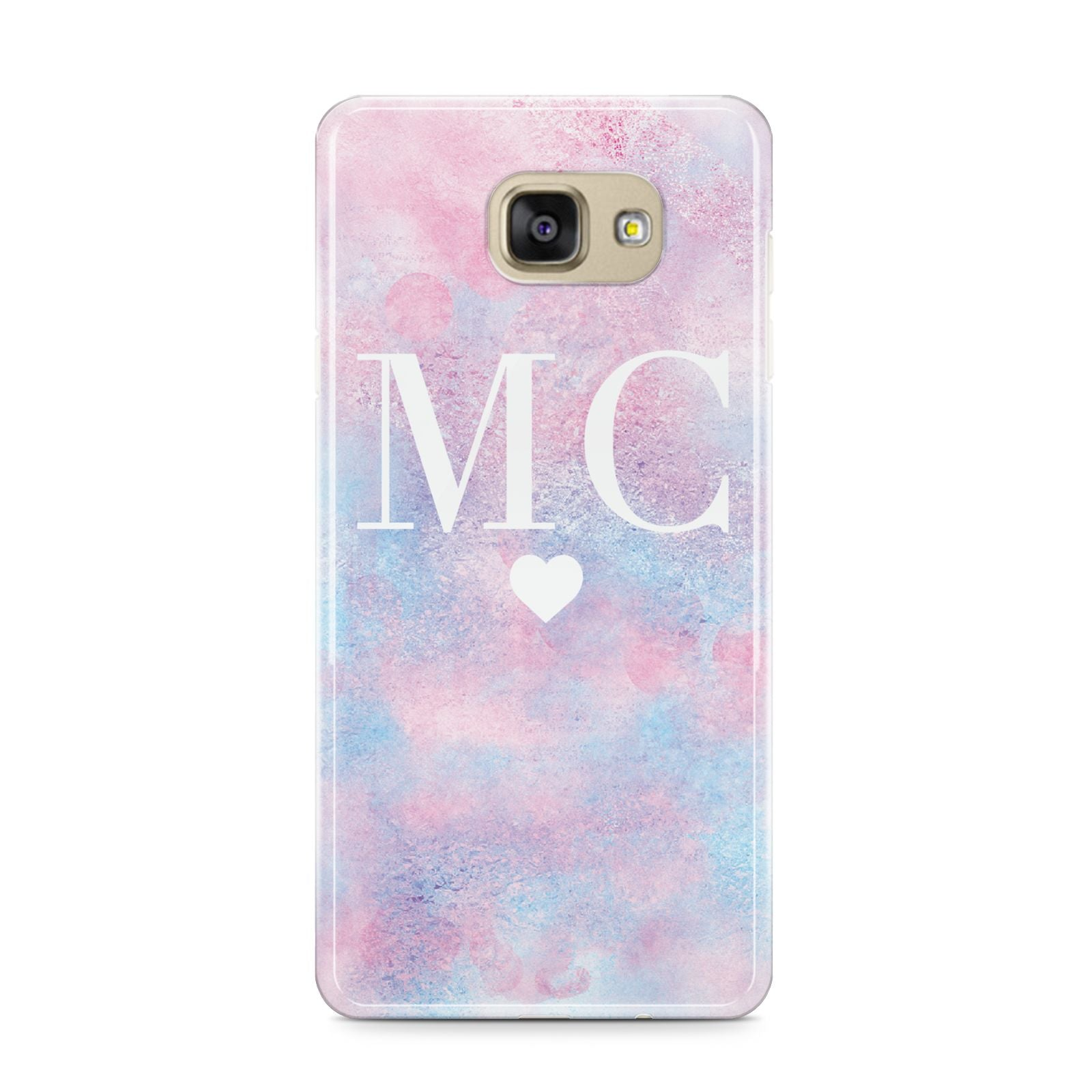 Personalised Cotton Candy Marble Initials Samsung Galaxy A9 2016 Case on gold phone