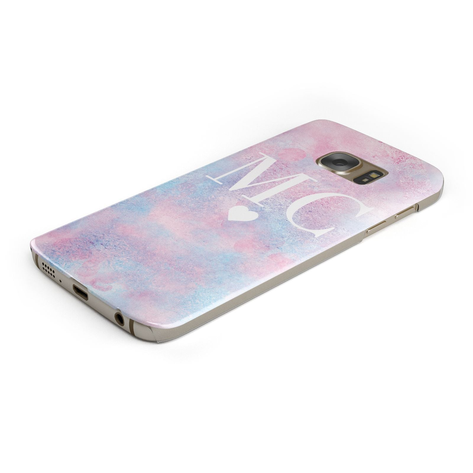 Personalised Cotton Candy Marble Initials Samsung Galaxy Case Bottom Cutout