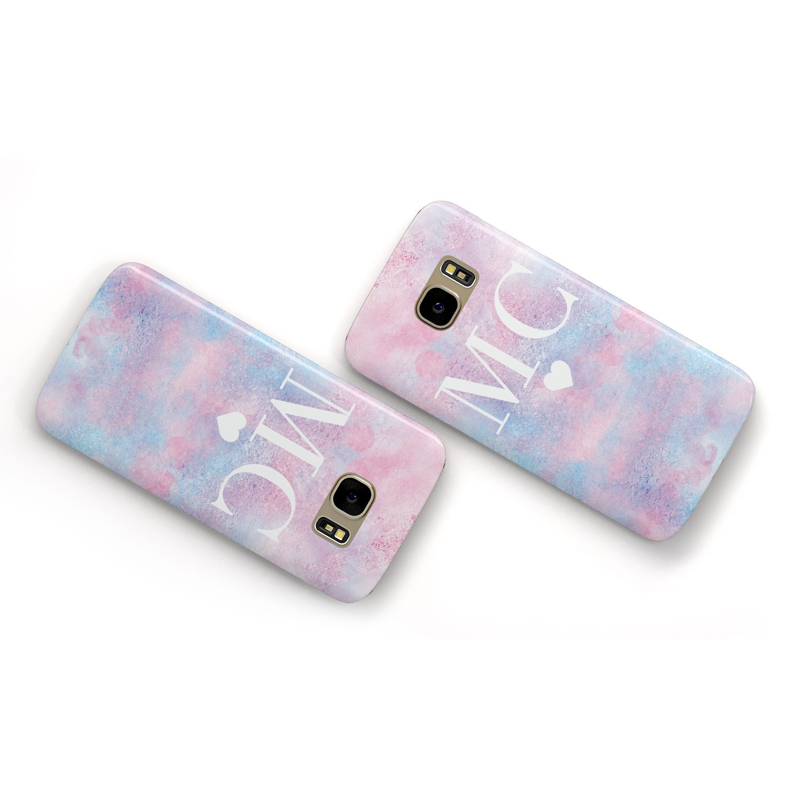 Personalised Cotton Candy Marble Initials Samsung Galaxy Case Flat Overview
