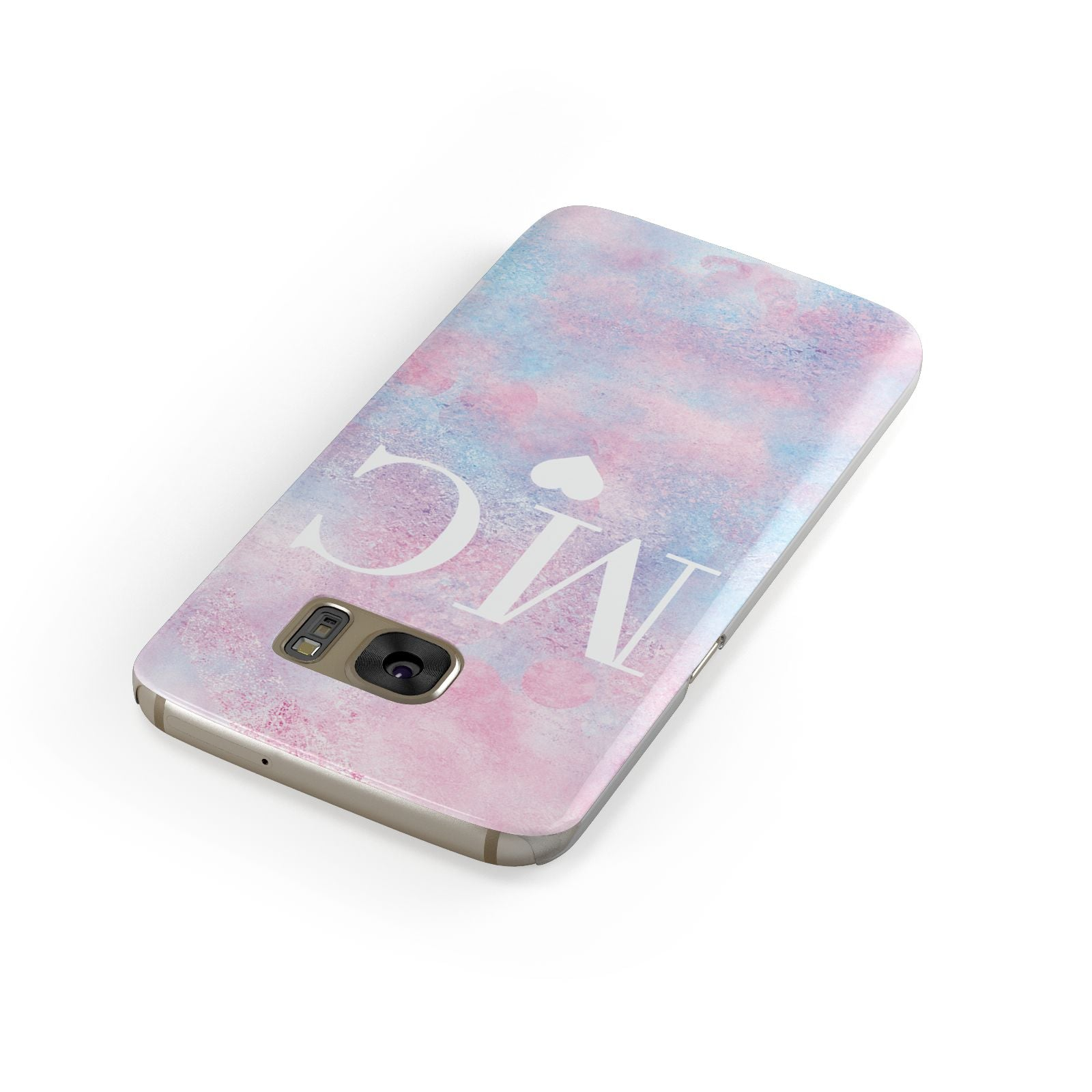 Personalised Cotton Candy Marble Initials Samsung Galaxy Case Front Close Up