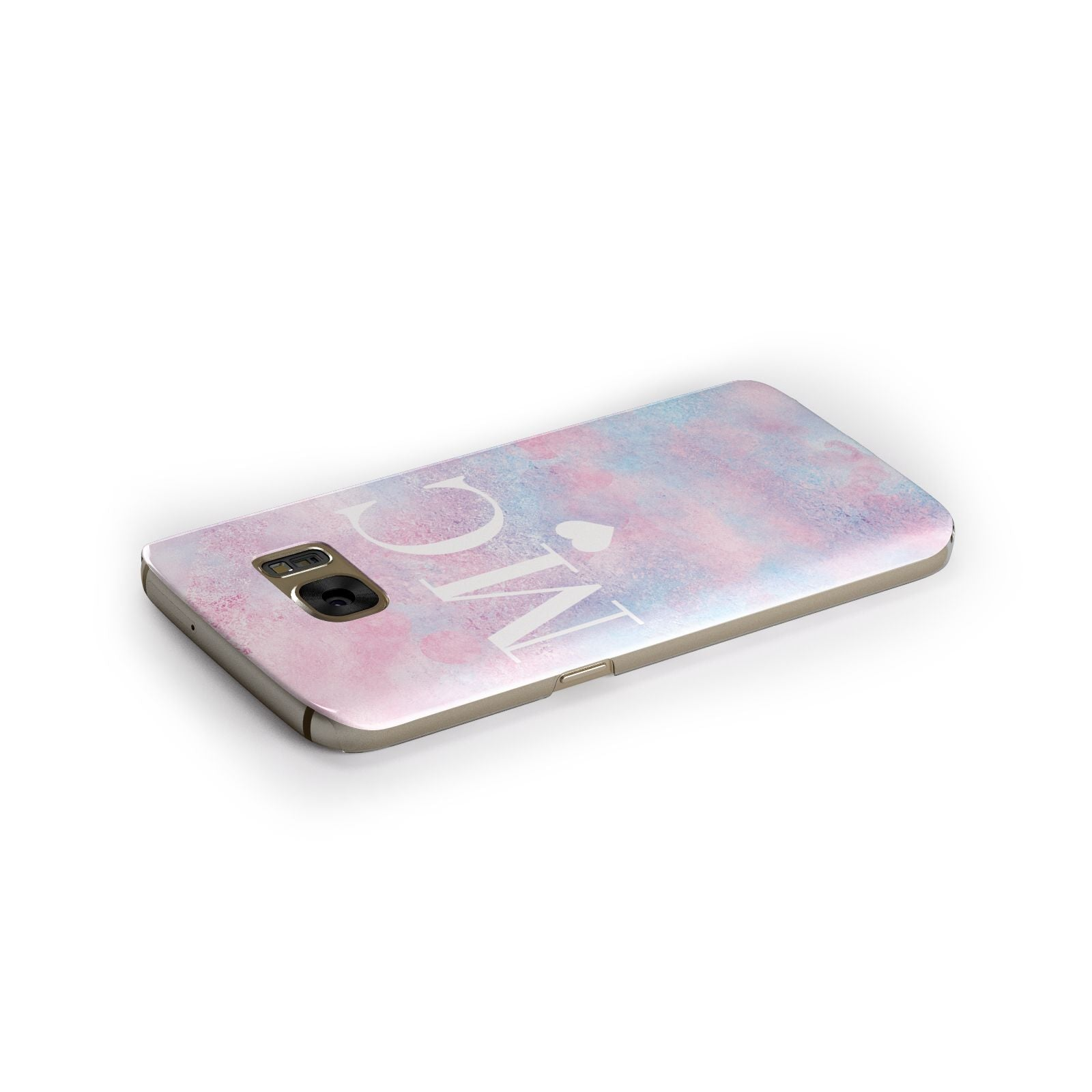 Personalised Cotton Candy Marble Initials Samsung Galaxy Case Side Close Up