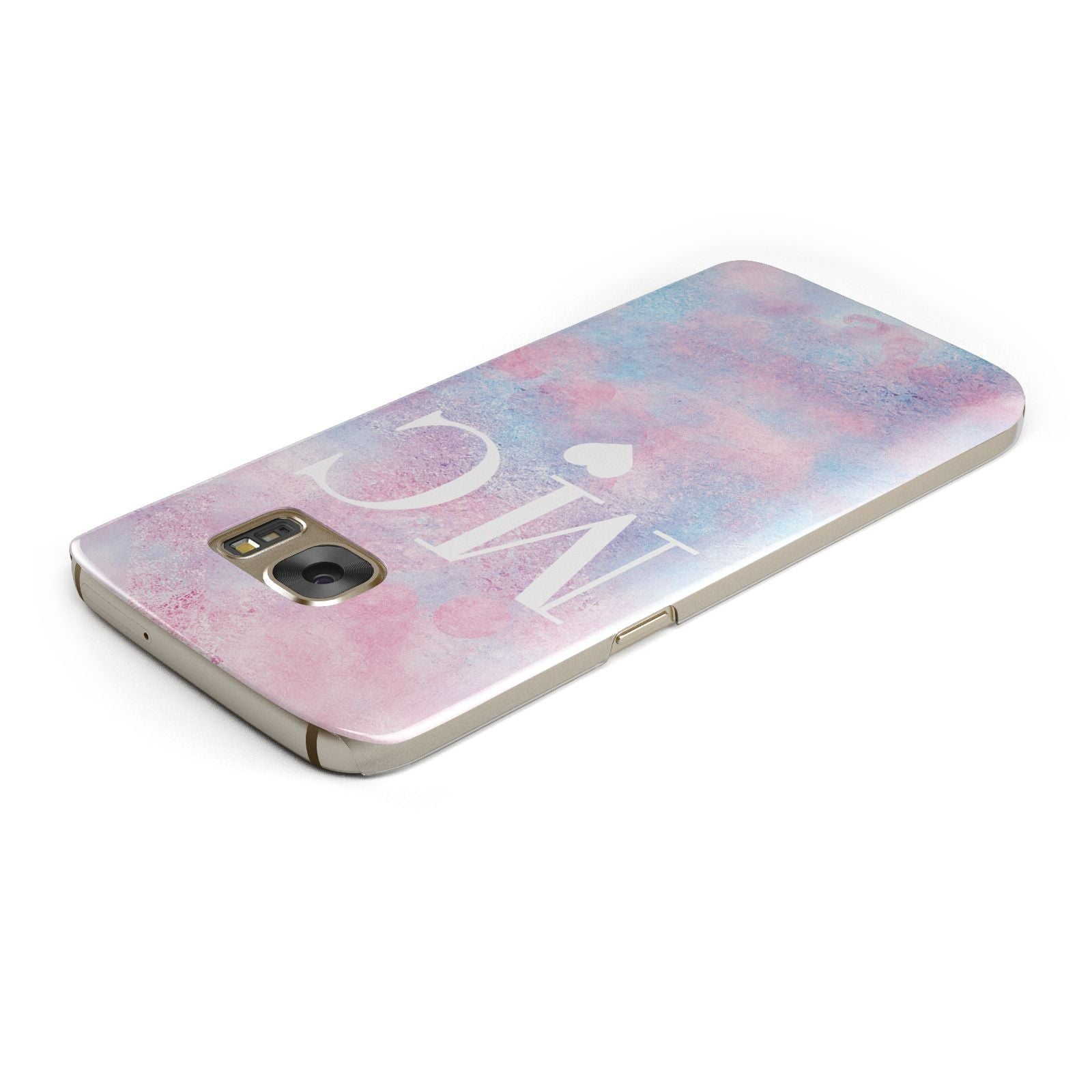 Personalised Cotton Candy Marble Initials Samsung Galaxy Case Top Cutout