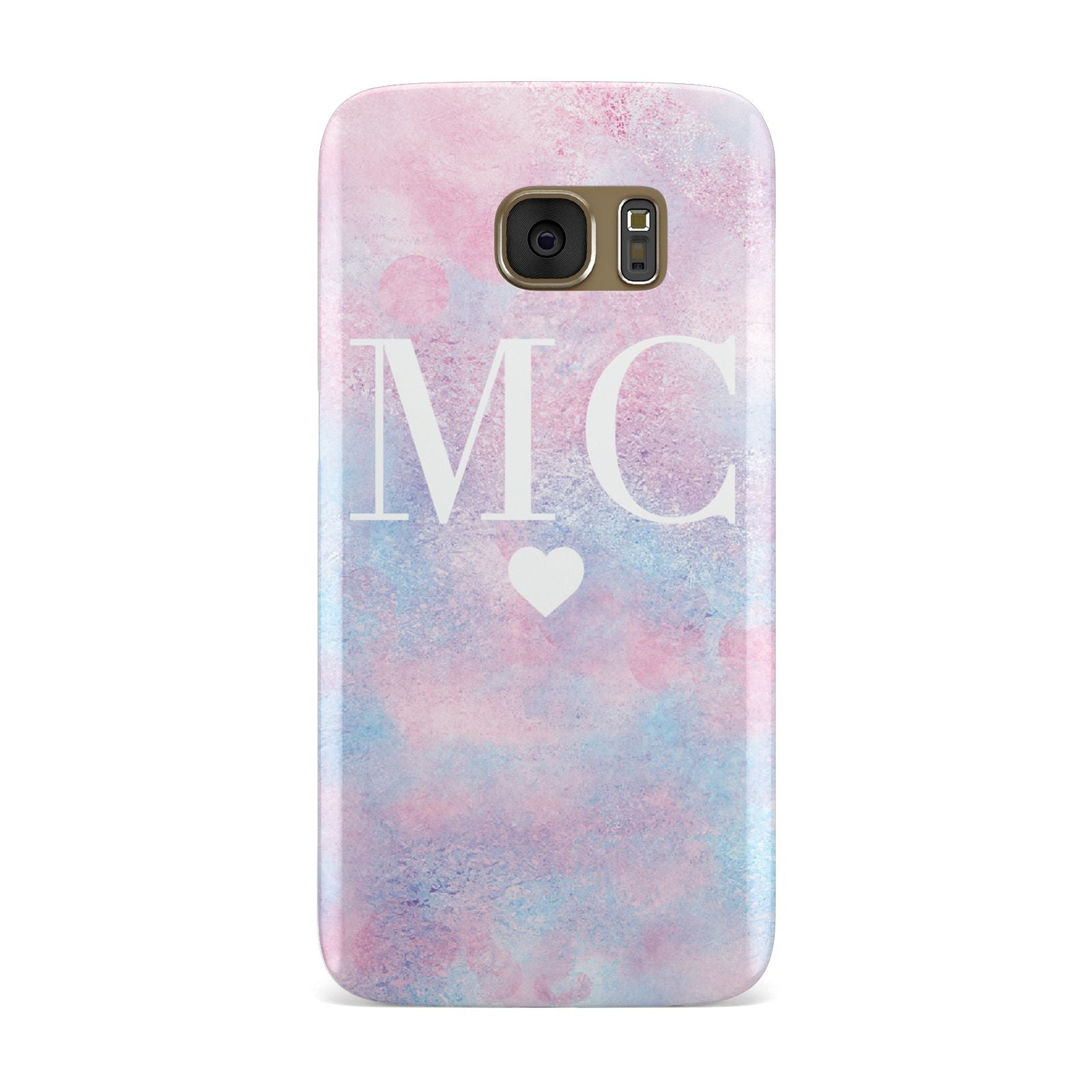 Personalised Cotton Candy Marble Initials Samsung Galaxy Case