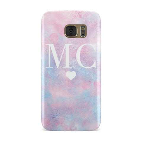 Personalised Cotton Candy Marble & Initials Samsung Galaxy Case