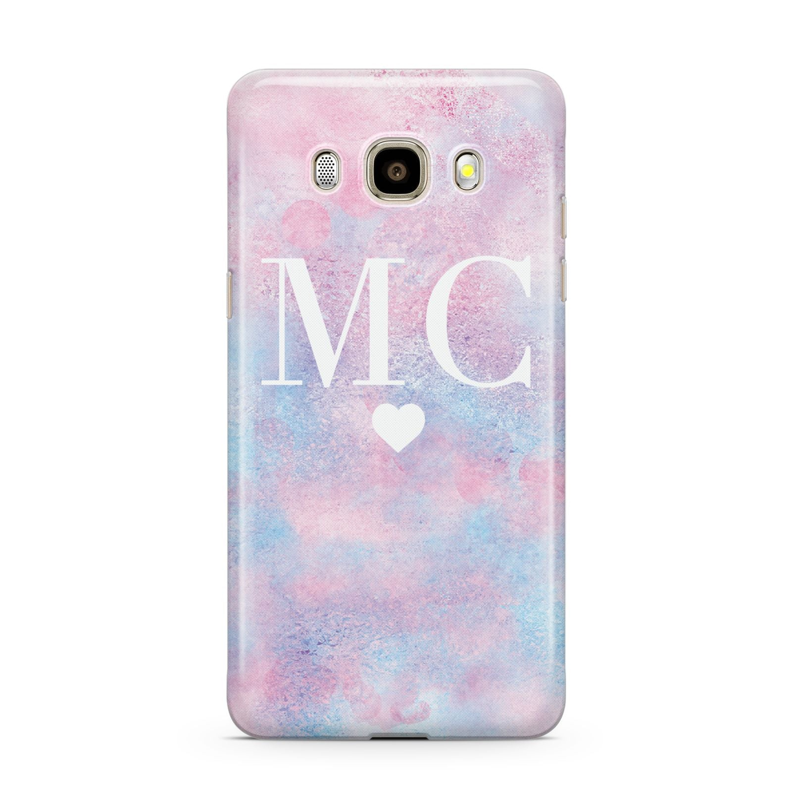 Personalised Cotton Candy Marble Initials Samsung Galaxy J7 2016 Case on gold phone