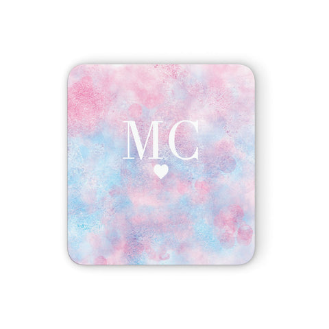 Personalised Cotton Candy Marble & Initials Coasters set of 4