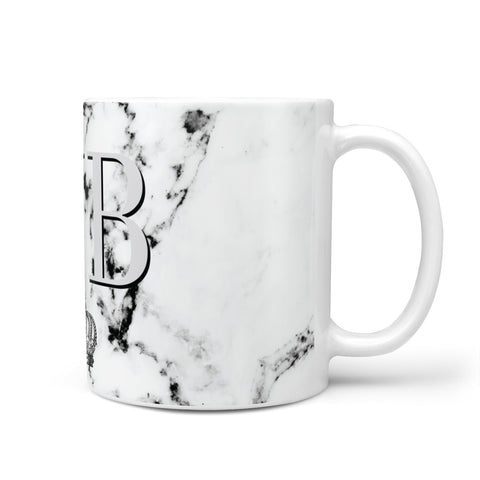 Personalised Crown Marble Initialed Grey Mug
