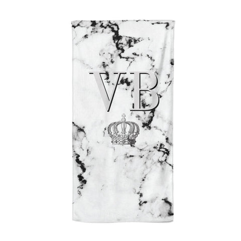 Personalised Crown Marble Initialed Grey Beach Towel