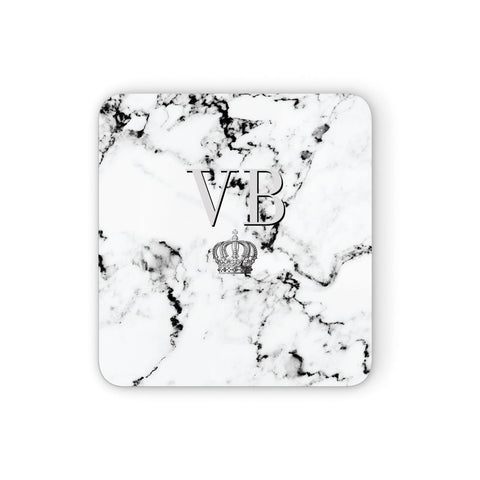 Personalised Crown Marble Initialed Grey Coasters set of 4