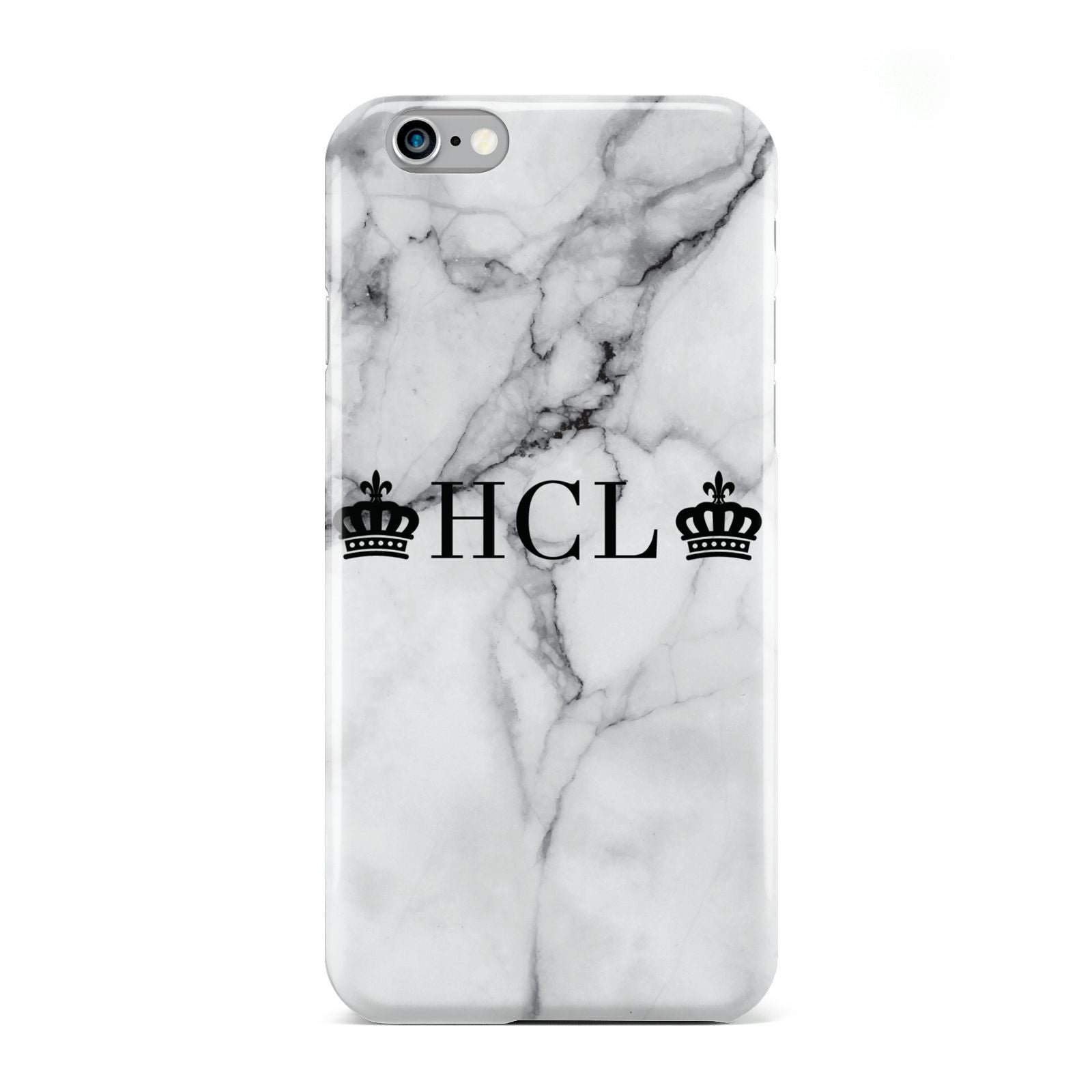Personalised Crowns Marble Initials Apple iPhone 6 Case