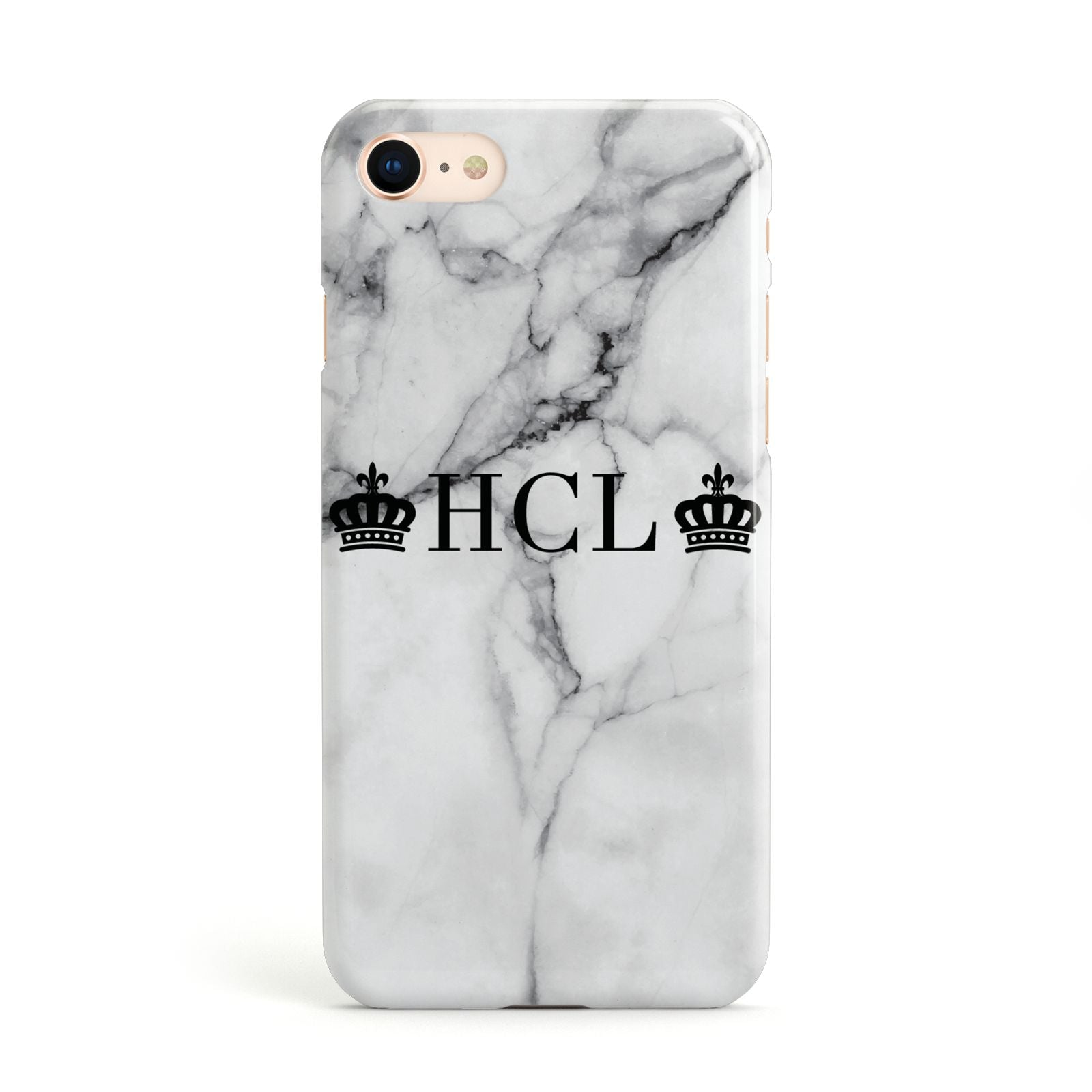 Personalised Crowns Marble Initials Apple iPhone Case