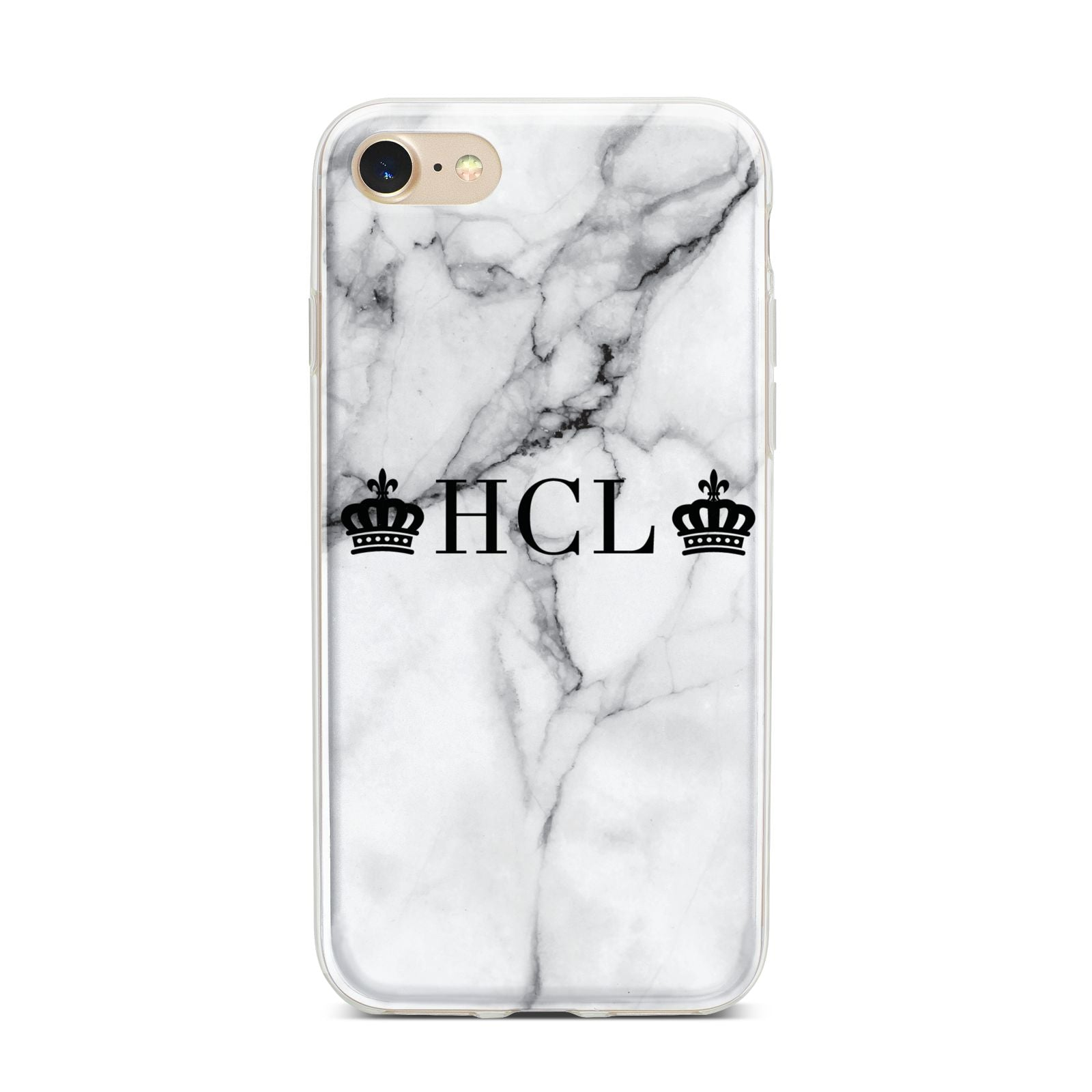 Personalised Crowns Marble Initials iPhone 7 Bumper Case on Gold iPhone
