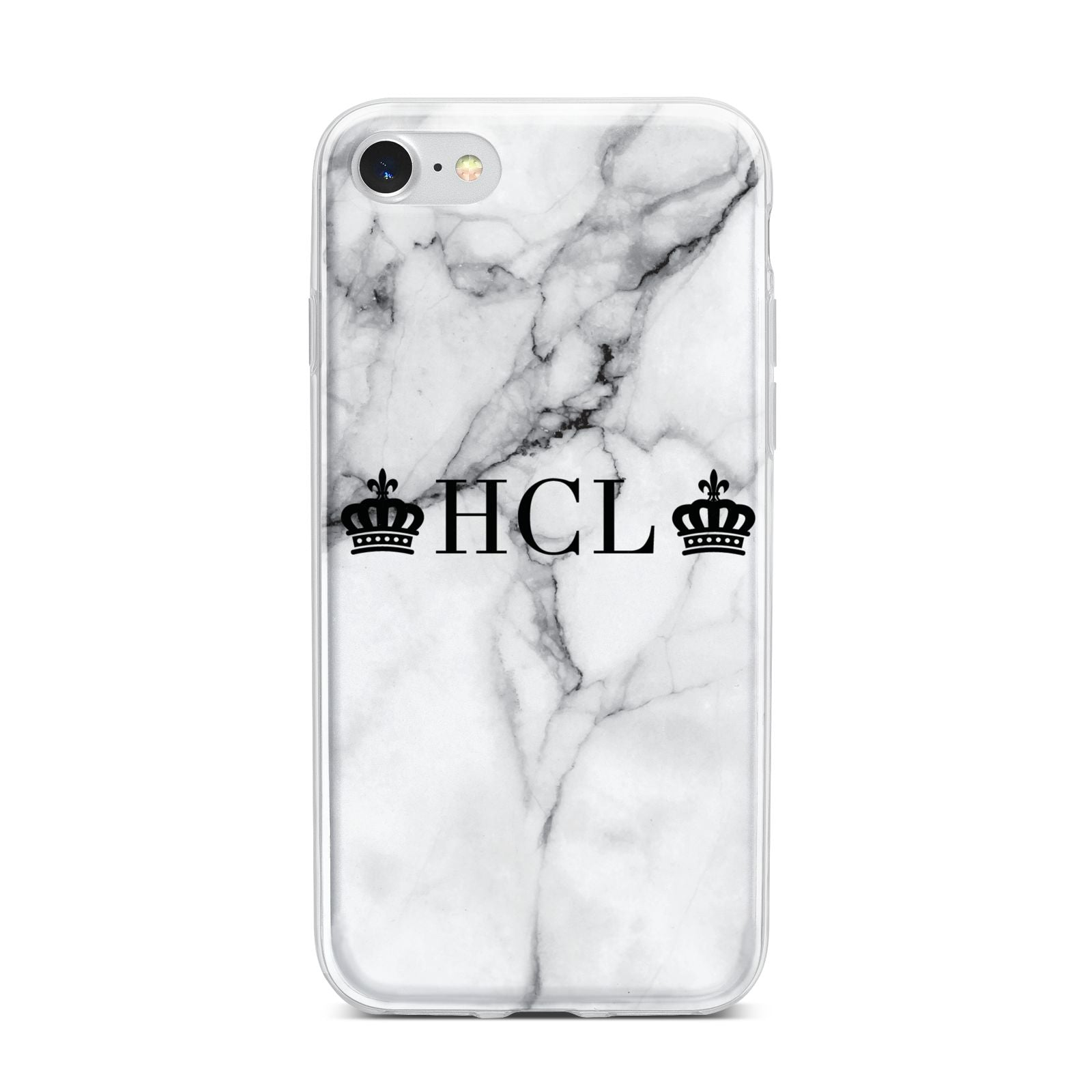 Personalised Crowns Marble Initials iPhone 7 Bumper Case on Silver iPhone