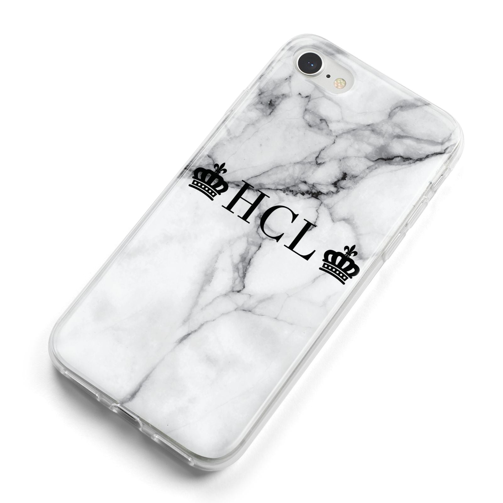 Personalised Crowns Marble Initials iPhone 8 Bumper Case on Silver iPhone Alternative Image