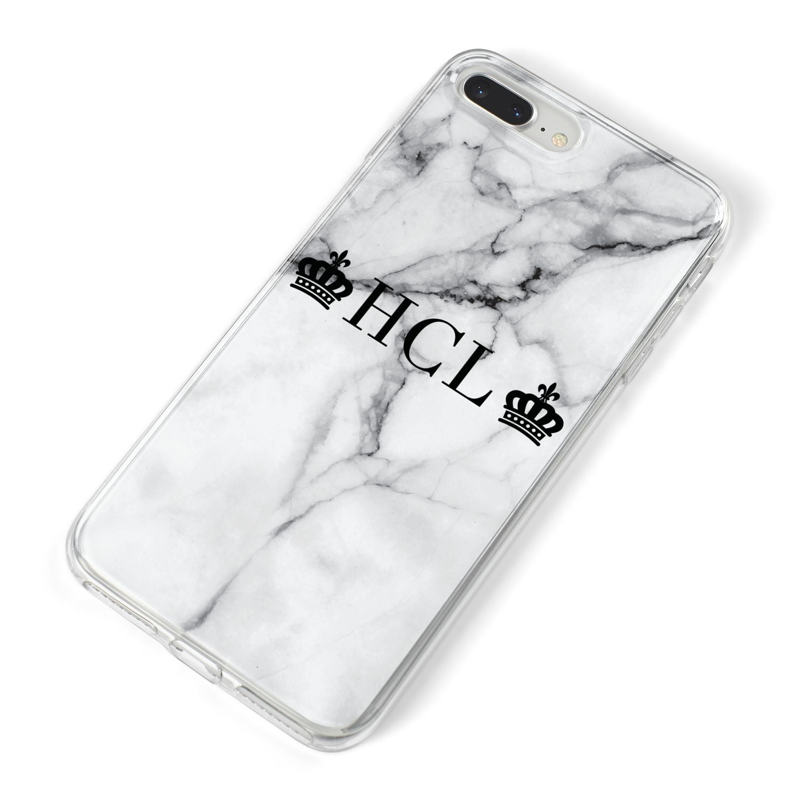 Personalised Crowns Marble Initials iPhone 8 Plus Bumper Case on Silver iPhone Alternative Image