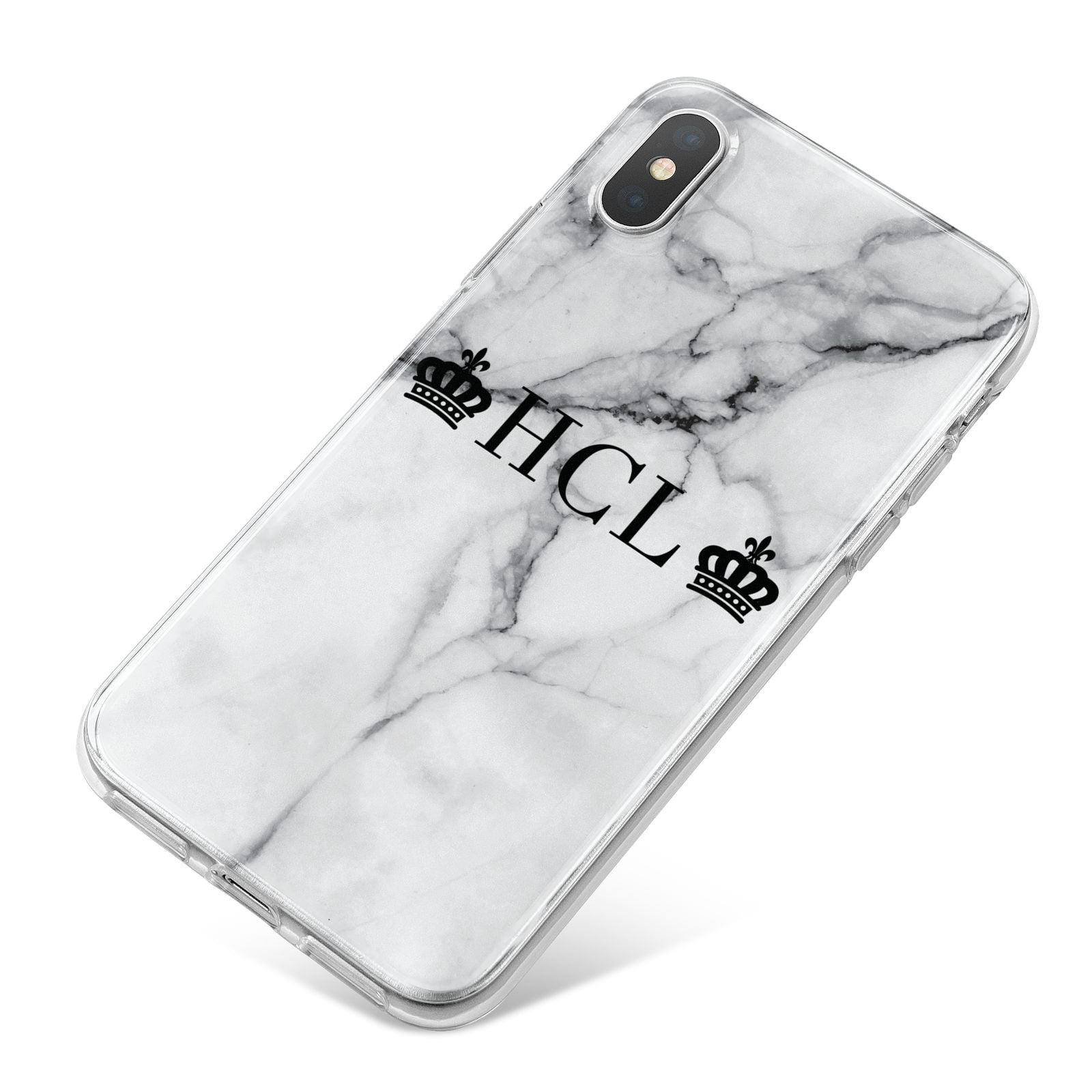 Personalised Crowns Marble Initials iPhone X Bumper Case on Silver iPhone