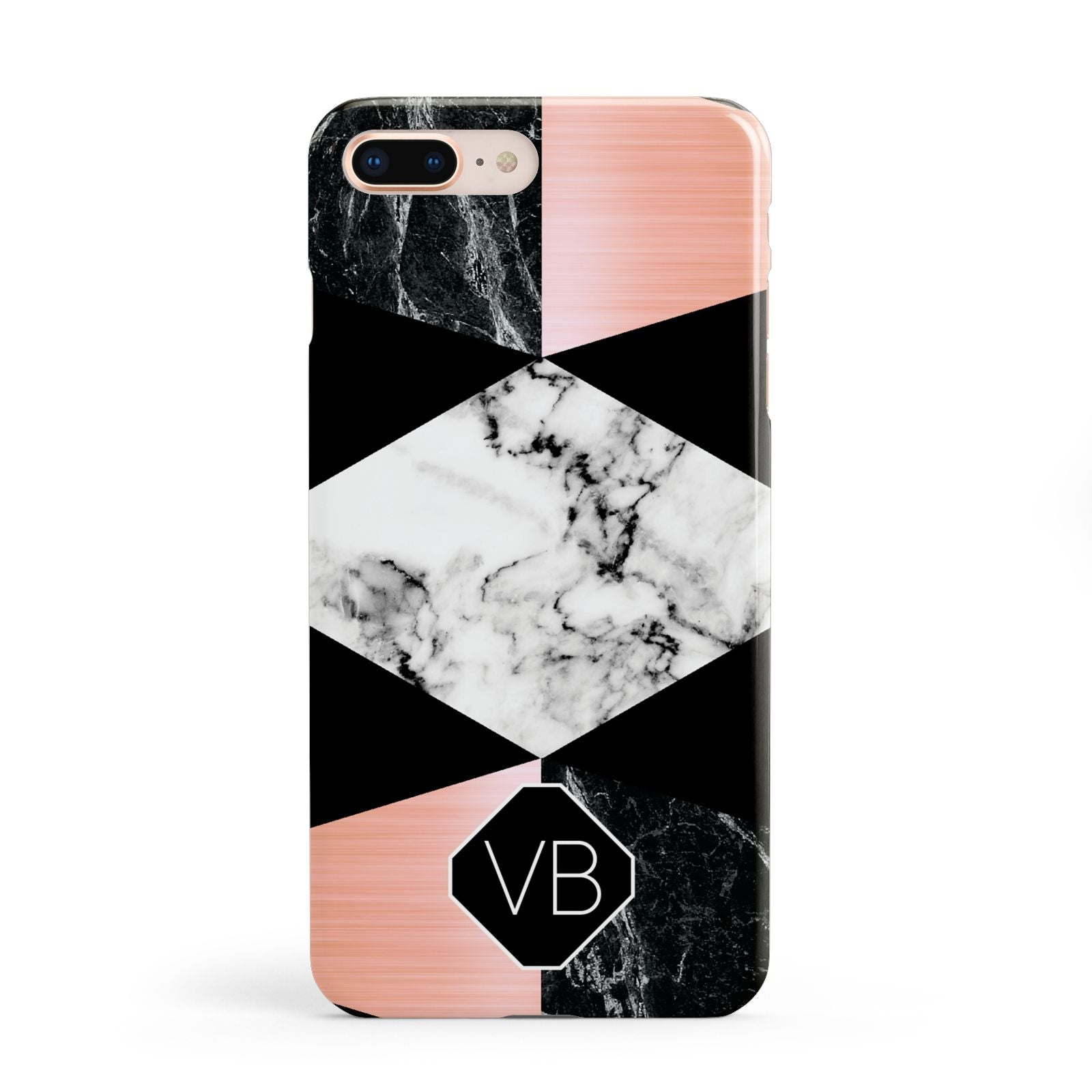Personalised Custom Marble Initials Apple iPhone 8 Plus Case