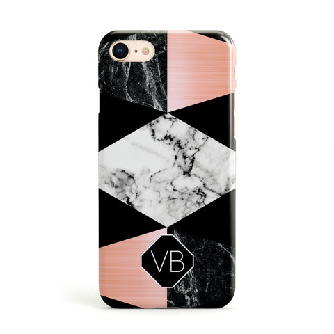 Personalised Custom Marble Initials Apple iPhone Case