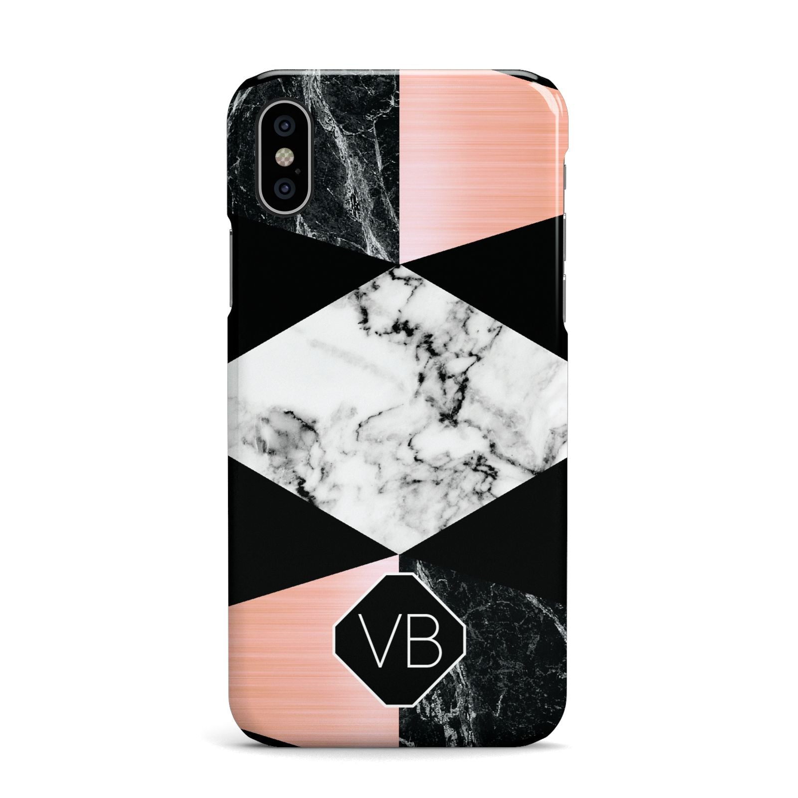 Personalised Custom Marble Initials Apple iPhone X Case