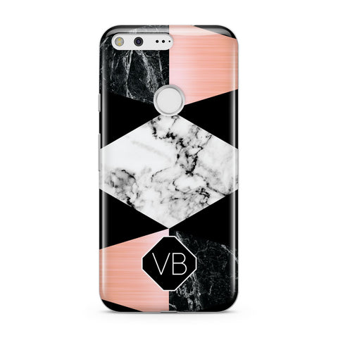 Personalised Custom Marble Initials Google Case