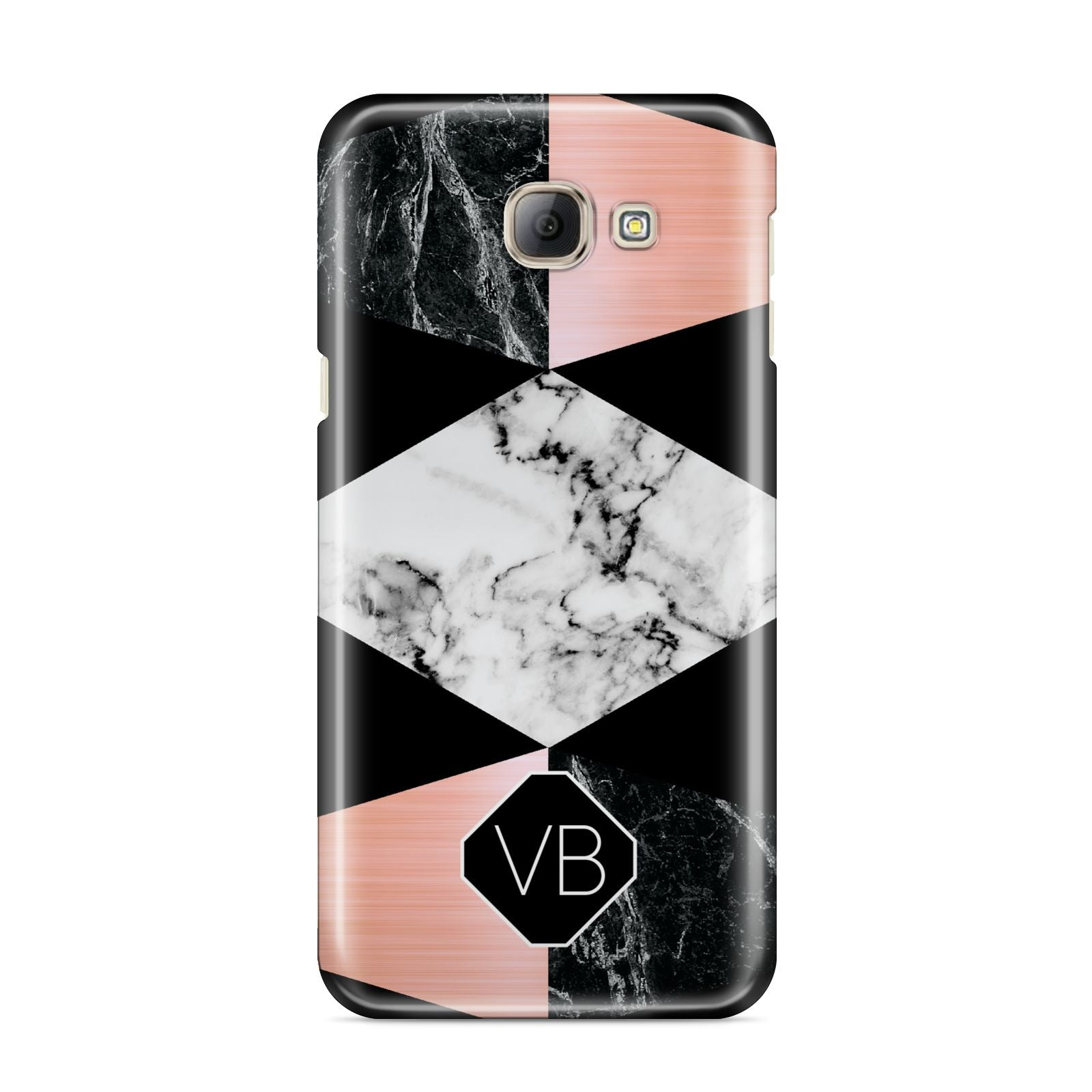 Personalised Custom Marble Initials Samsung Galaxy A8 2016 Case