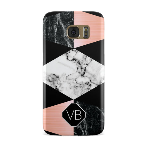 Personalised Custom Marble Initials Samsung Galaxy Case