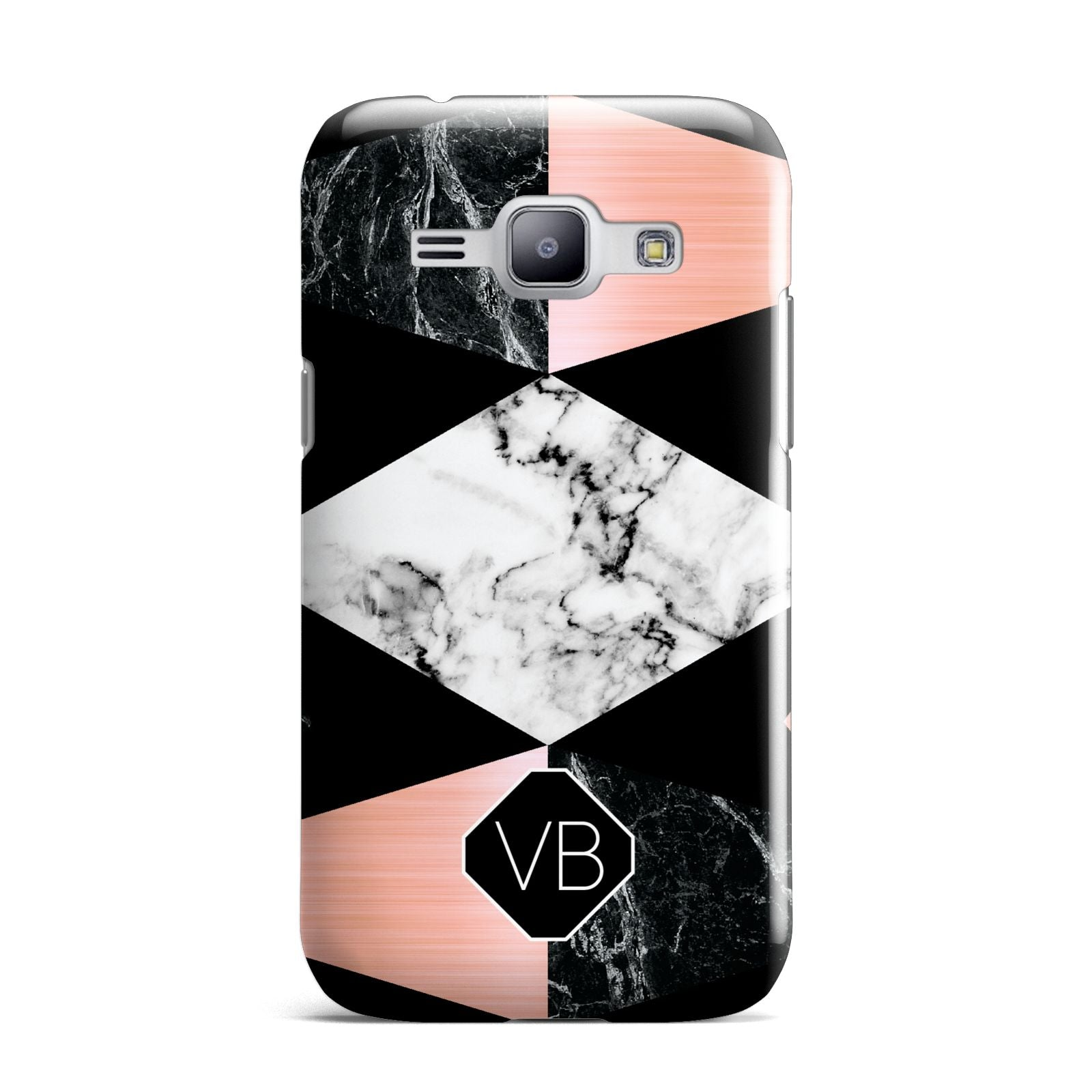 Personalised Custom Marble Initials Samsung Galaxy J1 2015 Case