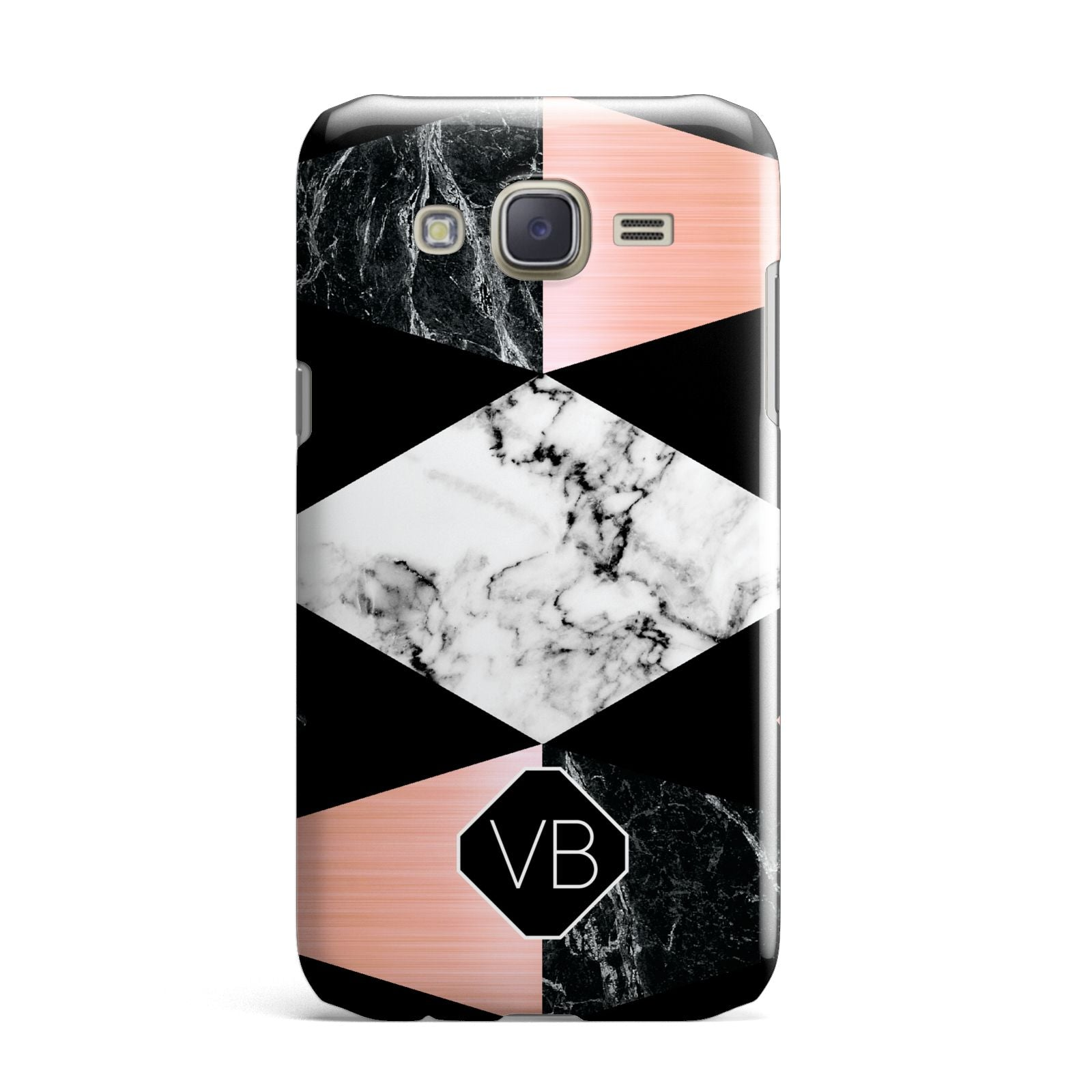 Personalised Custom Marble Initials Samsung Galaxy J7 Case