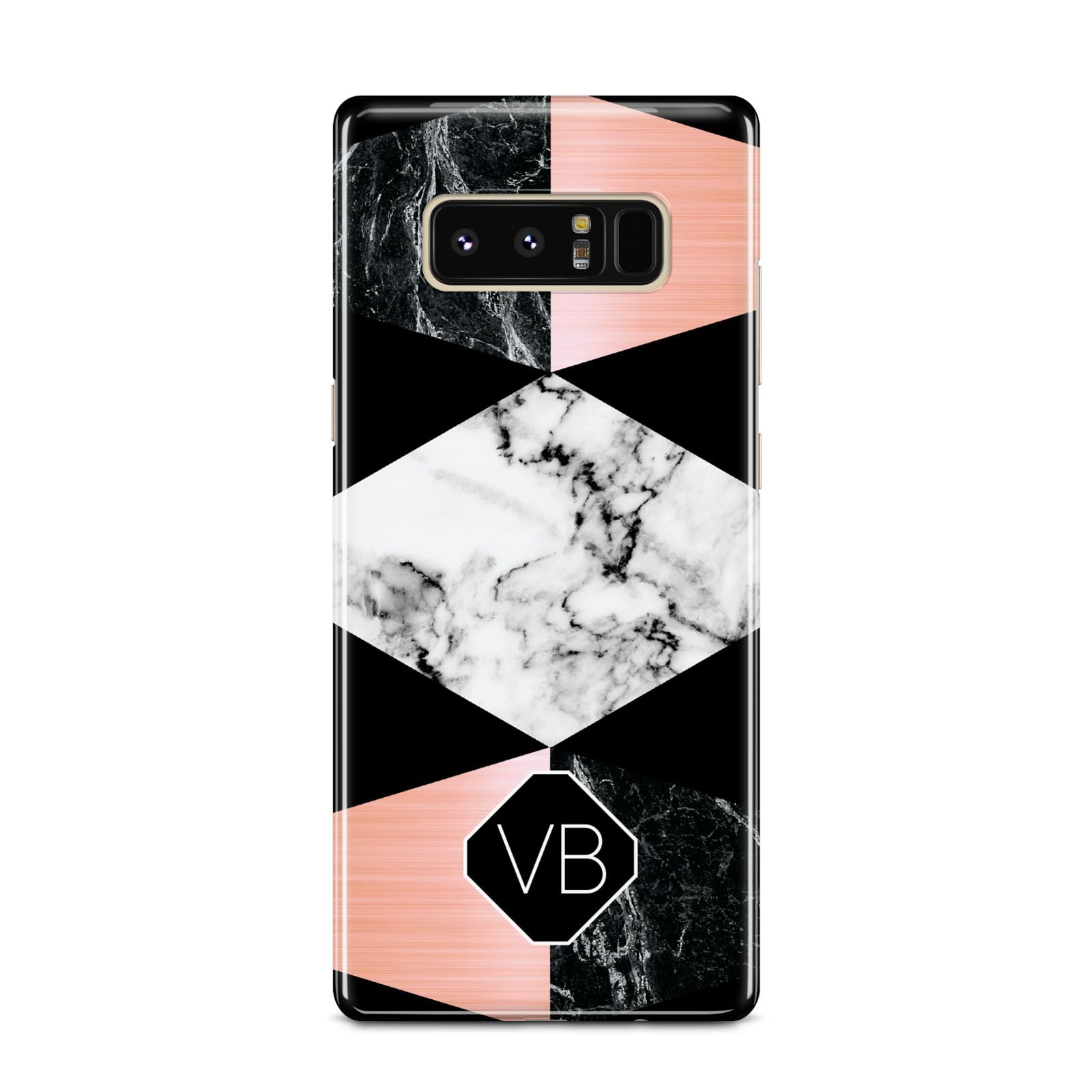 Personalised Custom Marble Initials Samsung Galaxy Note 8 Case