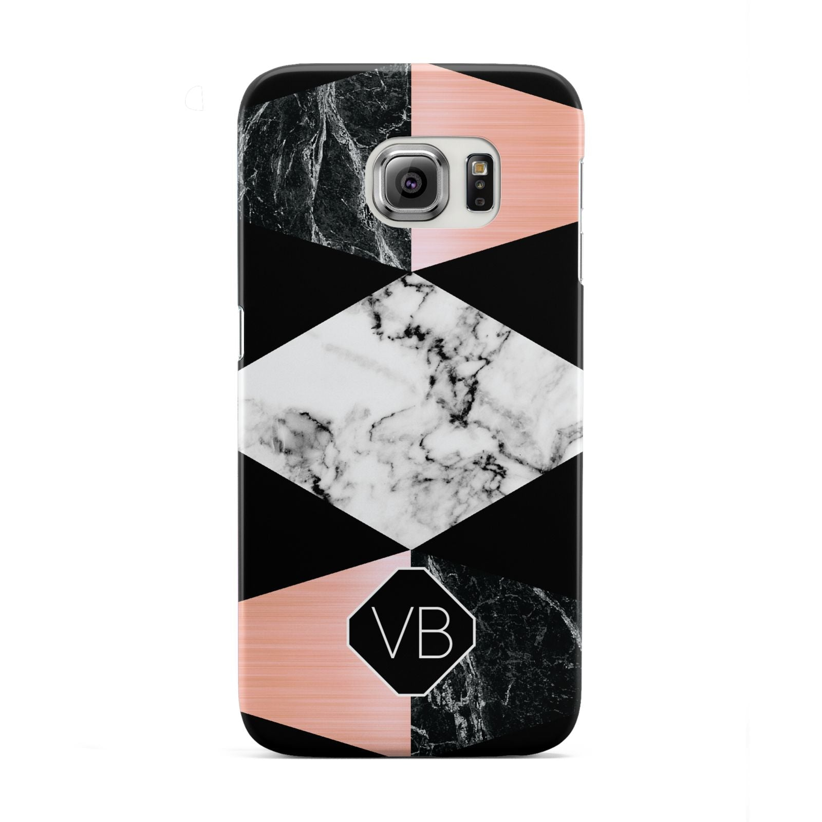 Personalised Custom Marble Initials Samsung Galaxy S6 Edge Case