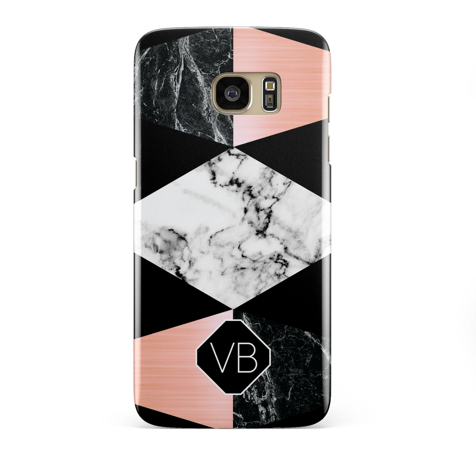 Personalised Custom Marble Initials Samsung Galaxy S7 Edge Case