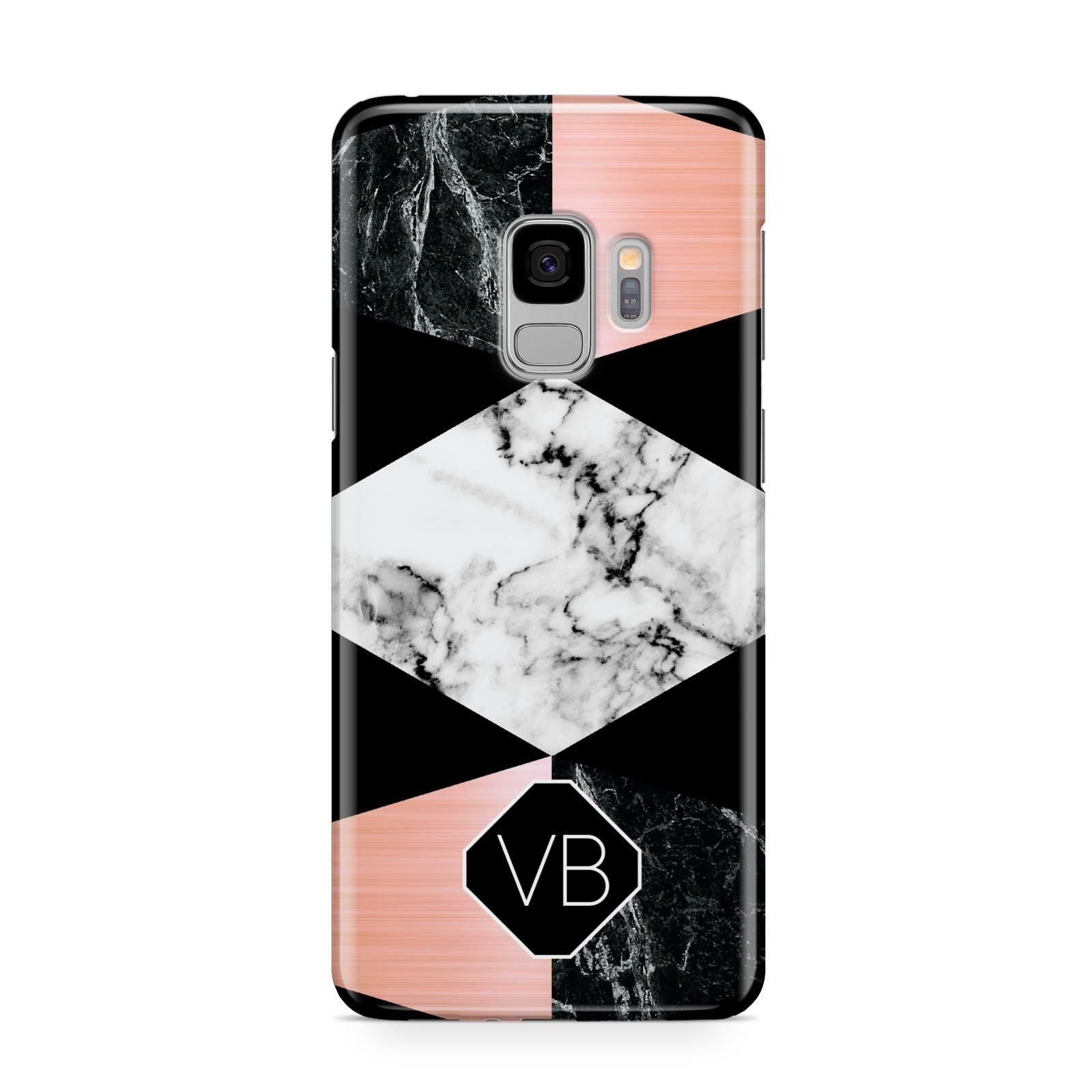 Personalised Custom Marble Initials Samsung Galaxy S9 Case