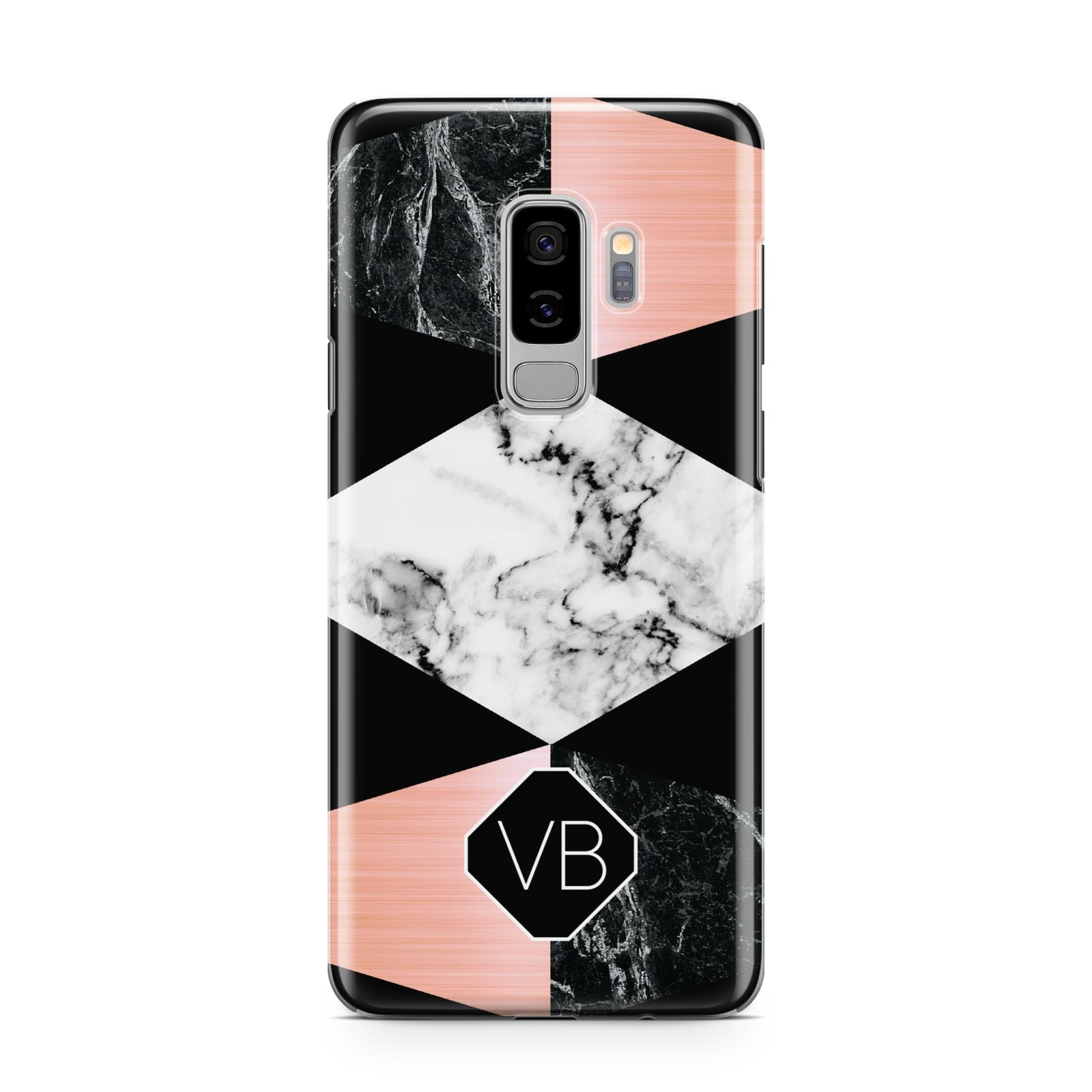 Personalised Custom Marble Initials Samsung Galaxy S9 Plus Case on Silver phone