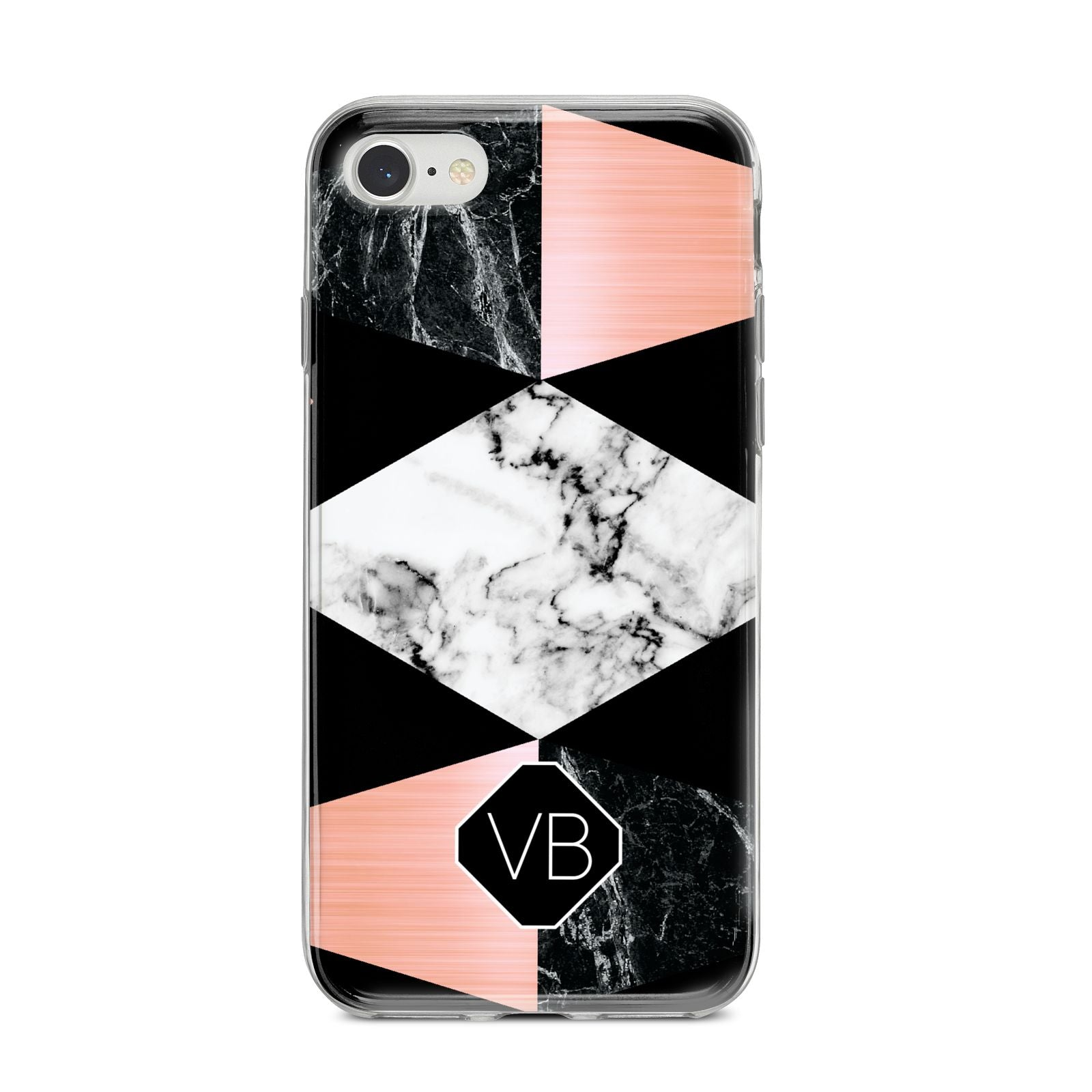 Personalised Custom Marble Initials iPhone 8 Bumper Case on Silver iPhone