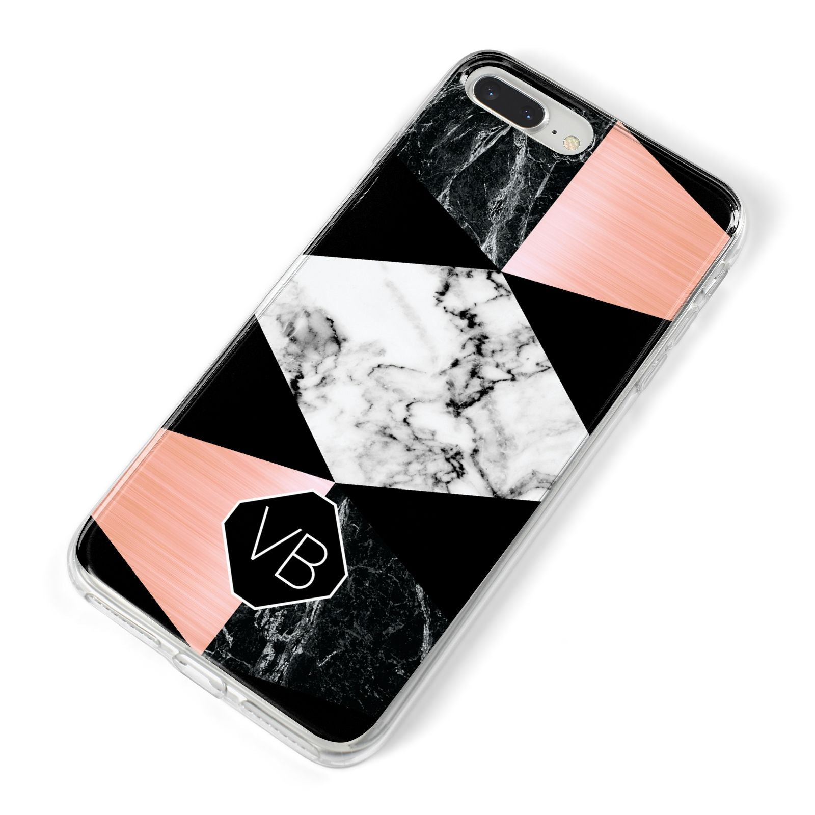 Personalised Custom Marble Initials iPhone 8 Plus Bumper Case on Silver iPhone Alternative Image