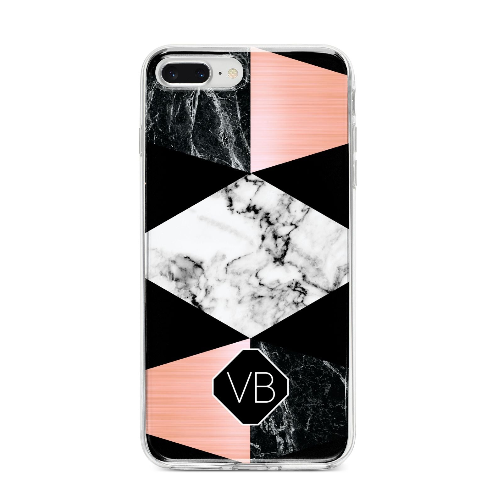 Personalised Custom Marble Initials iPhone 8 Plus Bumper Case on Silver iPhone