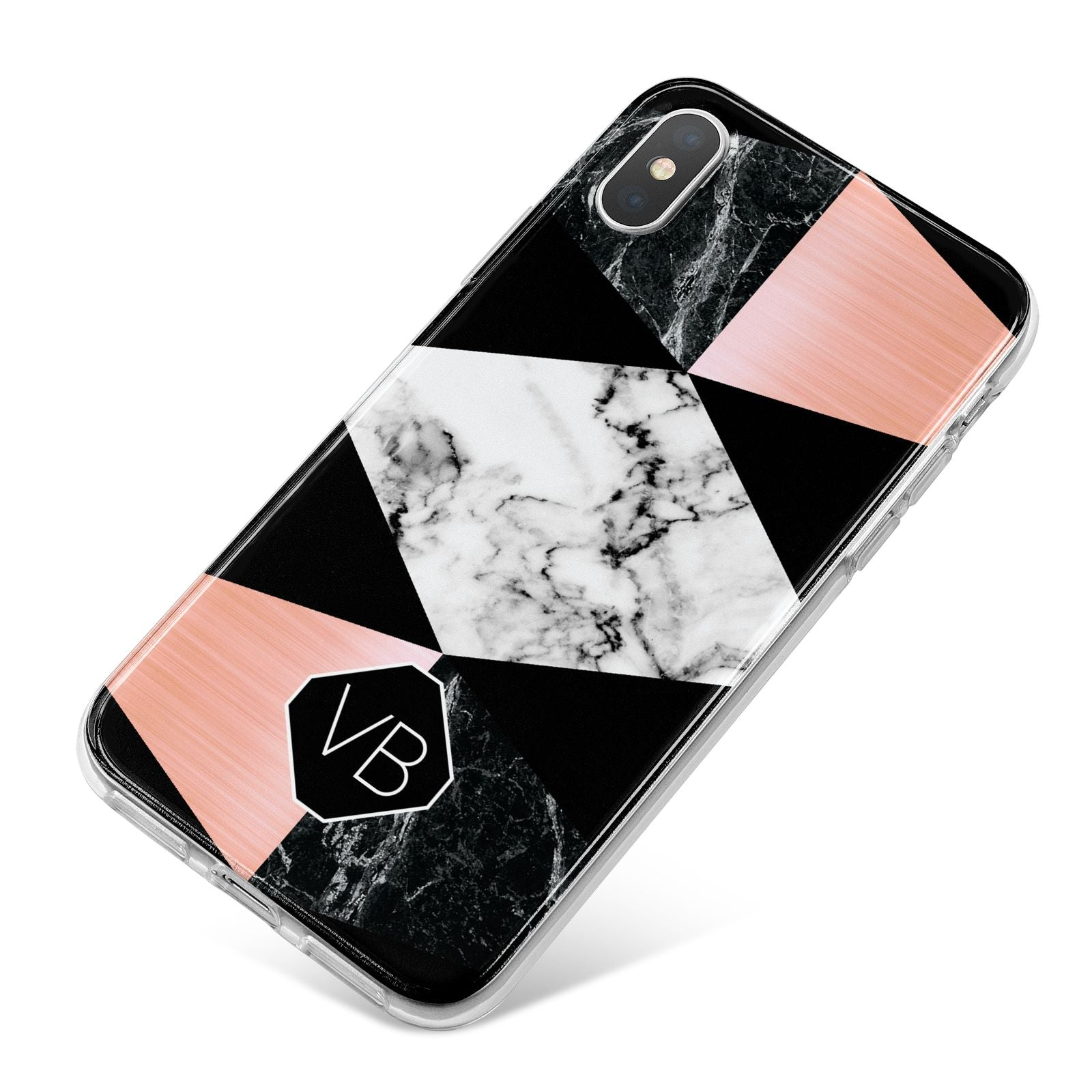 Personalised Custom Marble Initials iPhone X Bumper Case on Silver iPhone
