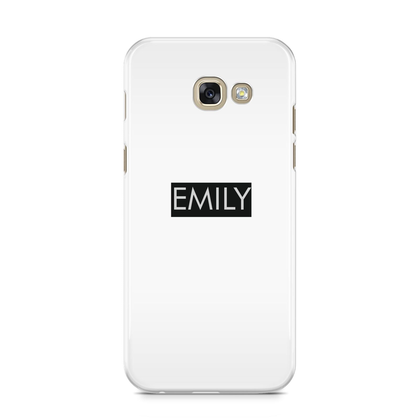 Personalised Cutout Name Heart Clear Black Samsung Galaxy A5 2017 Case on gold phone