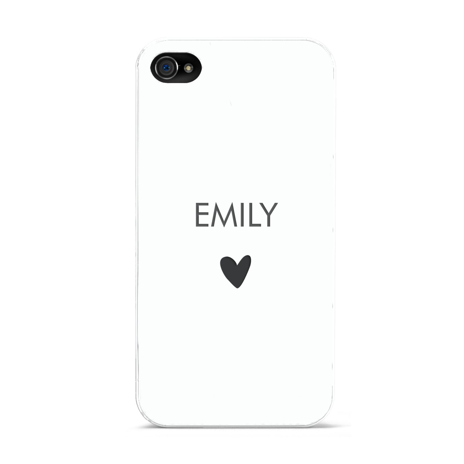 Personalised Cutout Name Heart Clear White Apple iPhone 4s Case