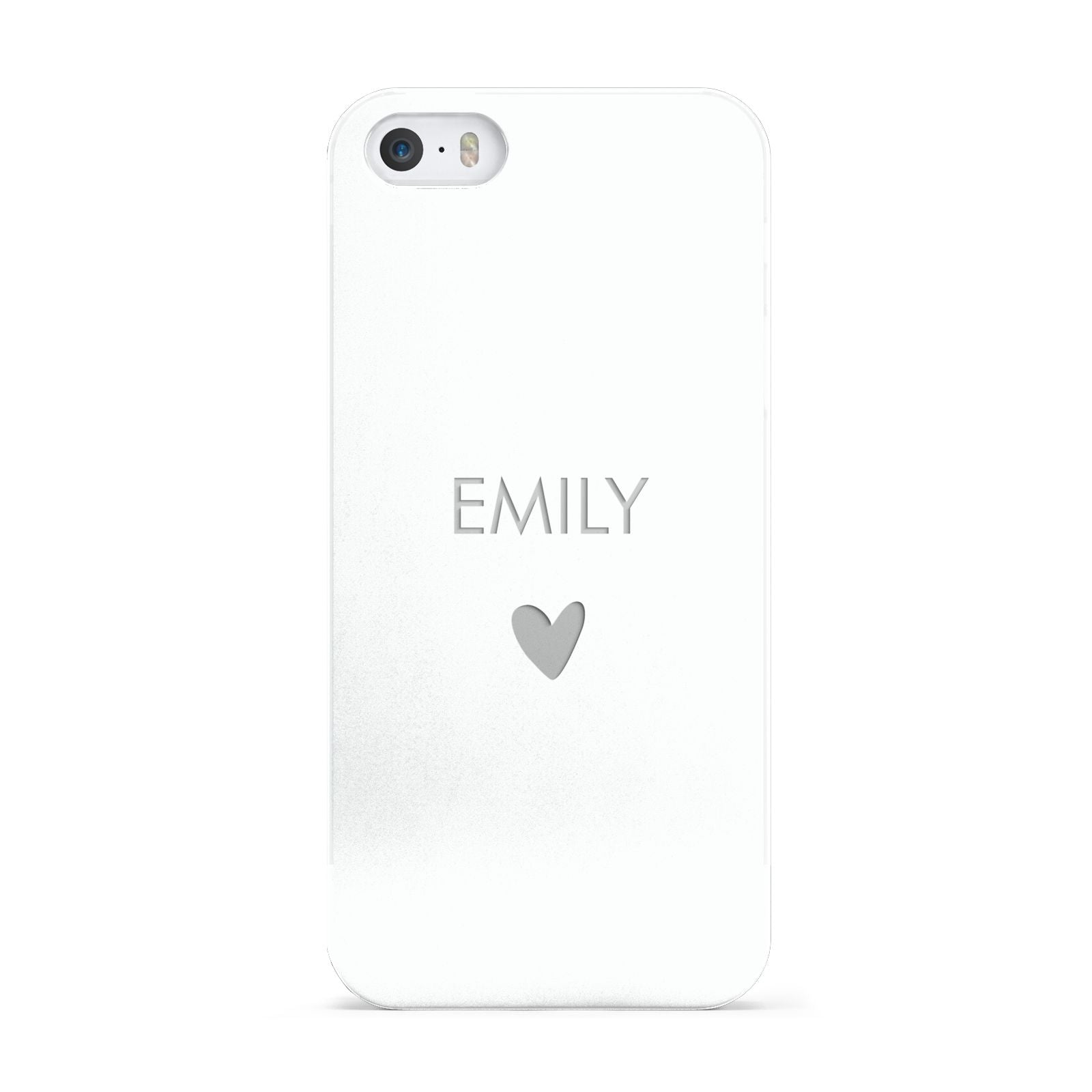 Personalised Cutout Name Heart Clear White Apple iPhone 5 Case