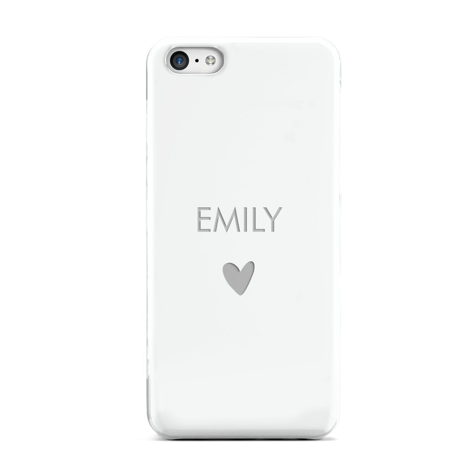 Personalised Cutout Name Heart Clear White Apple iPhone 5c Case
