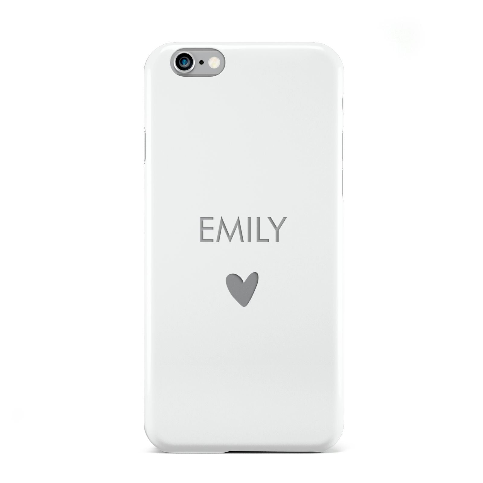 Personalised Cutout Name Heart Clear White Apple iPhone 6 Case