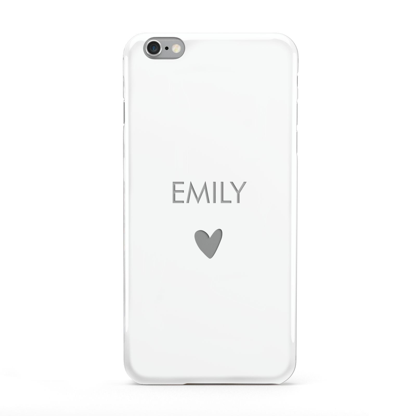 Personalised Cutout Name Heart Clear White Apple iPhone 6 Plus Case