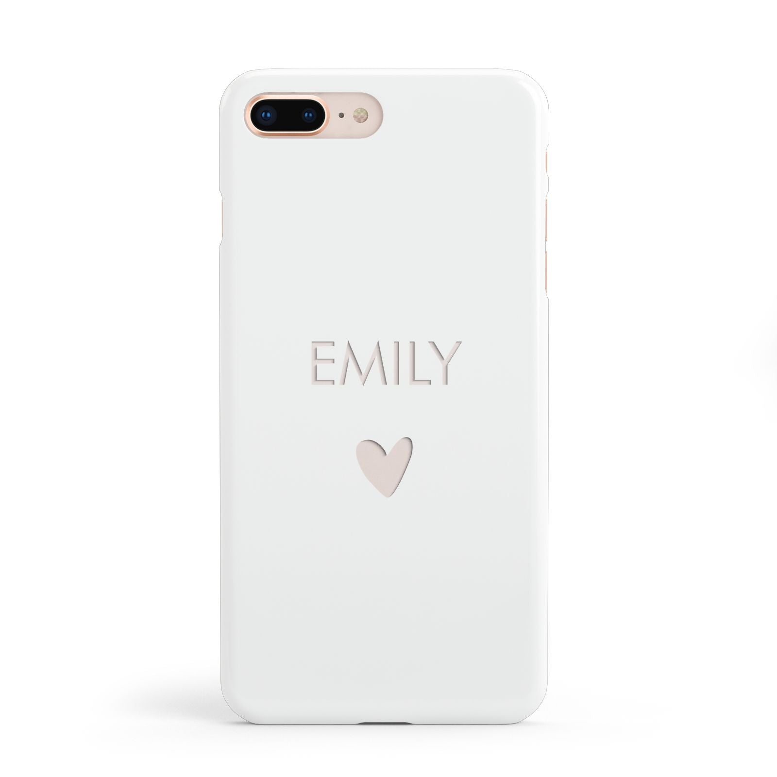 Personalised Cutout Name Heart Clear White Apple iPhone 8 Plus Case